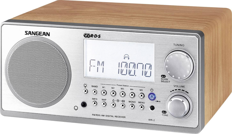 FM stolové rádio Sangean WR-2 AUX vlašský orech, strieborná