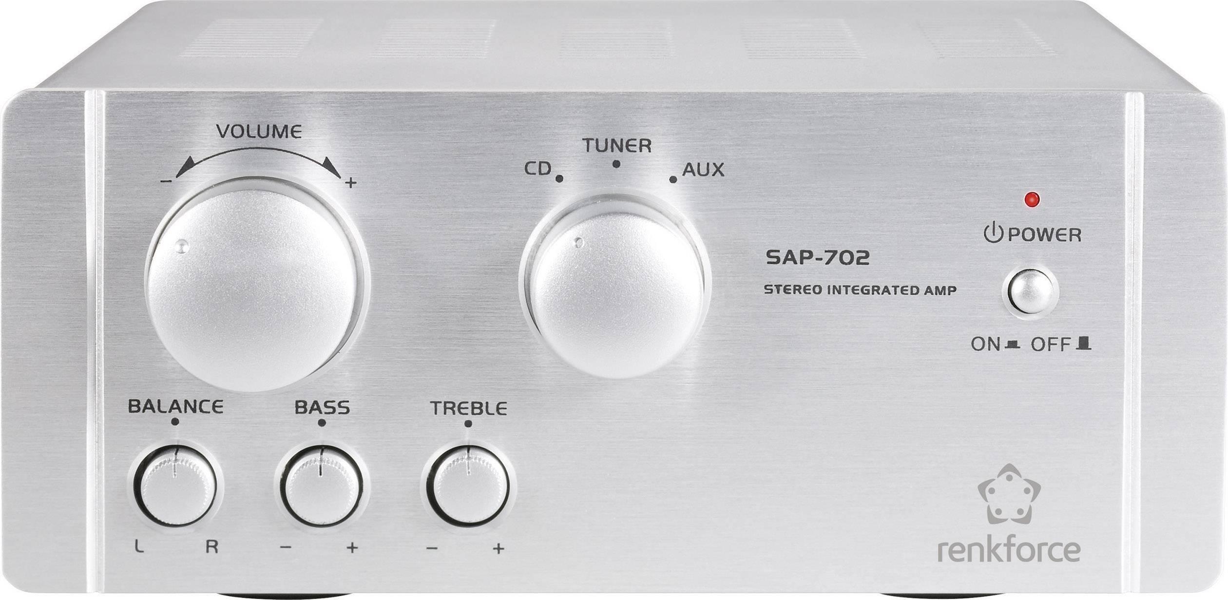Stereo zosilňovač Renkforce SAP-702, 2 x 20 W, hliník