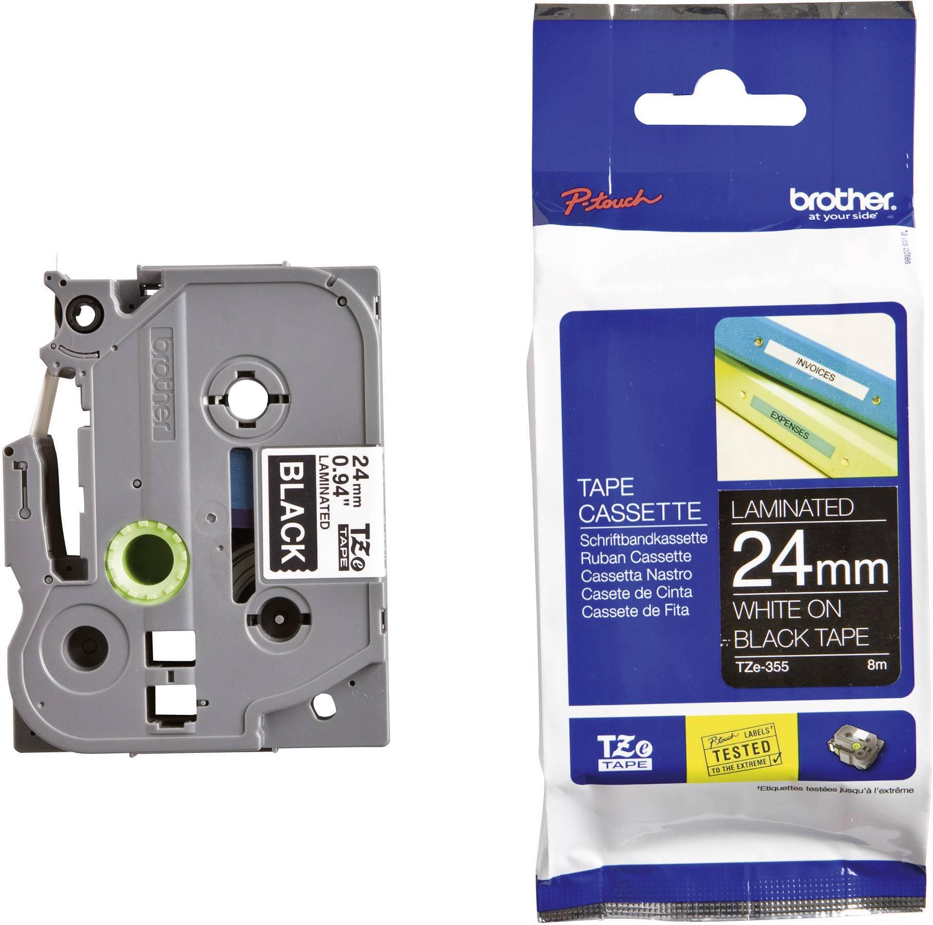 Páska do štítkovača Brother TZe-355, 24 mm, 8 m, biela, čierna