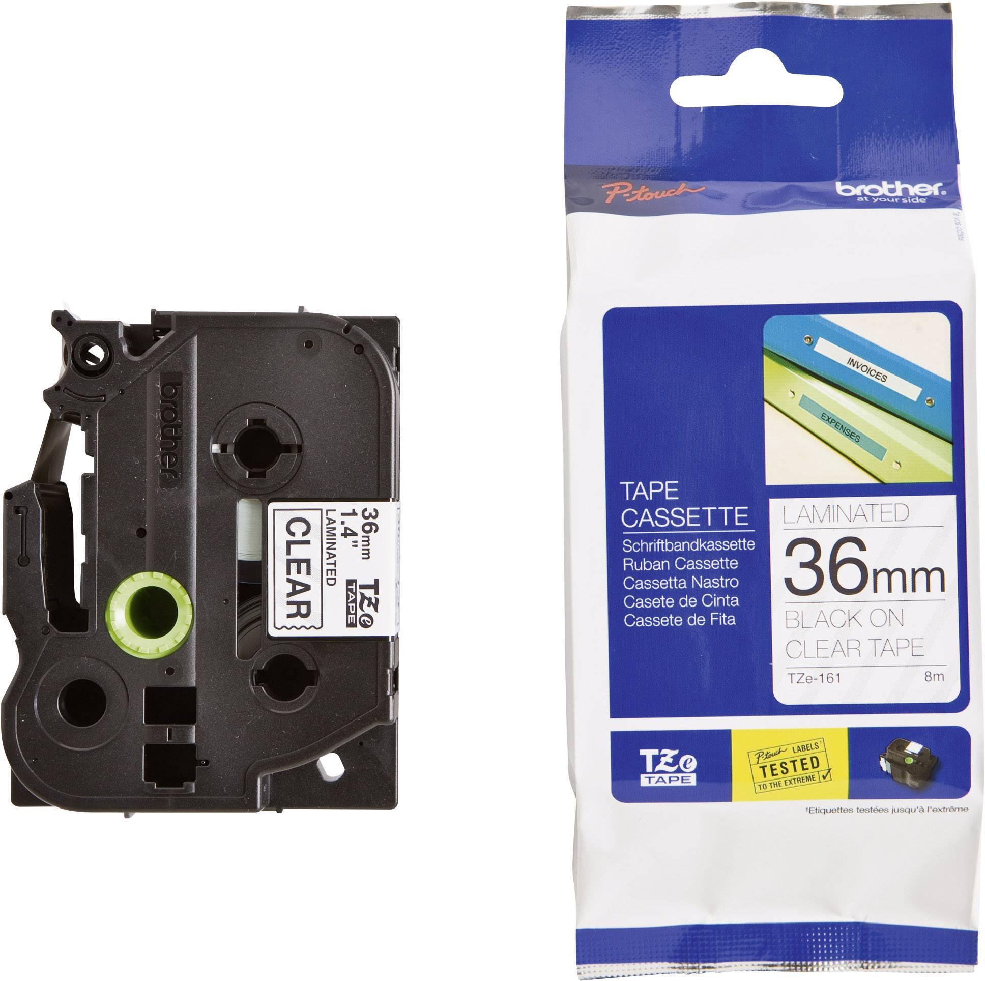 Páska do štítkovača Brother TZe-161, 36 mm, 8 m, čierna, priehľadná