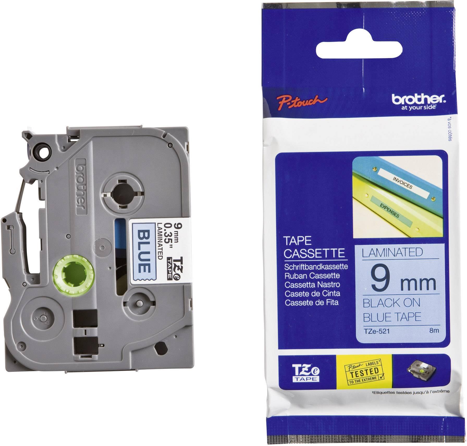 Páska do štítkovača Brother TZe-521, 9 mm, 8 m, čierna, modrá