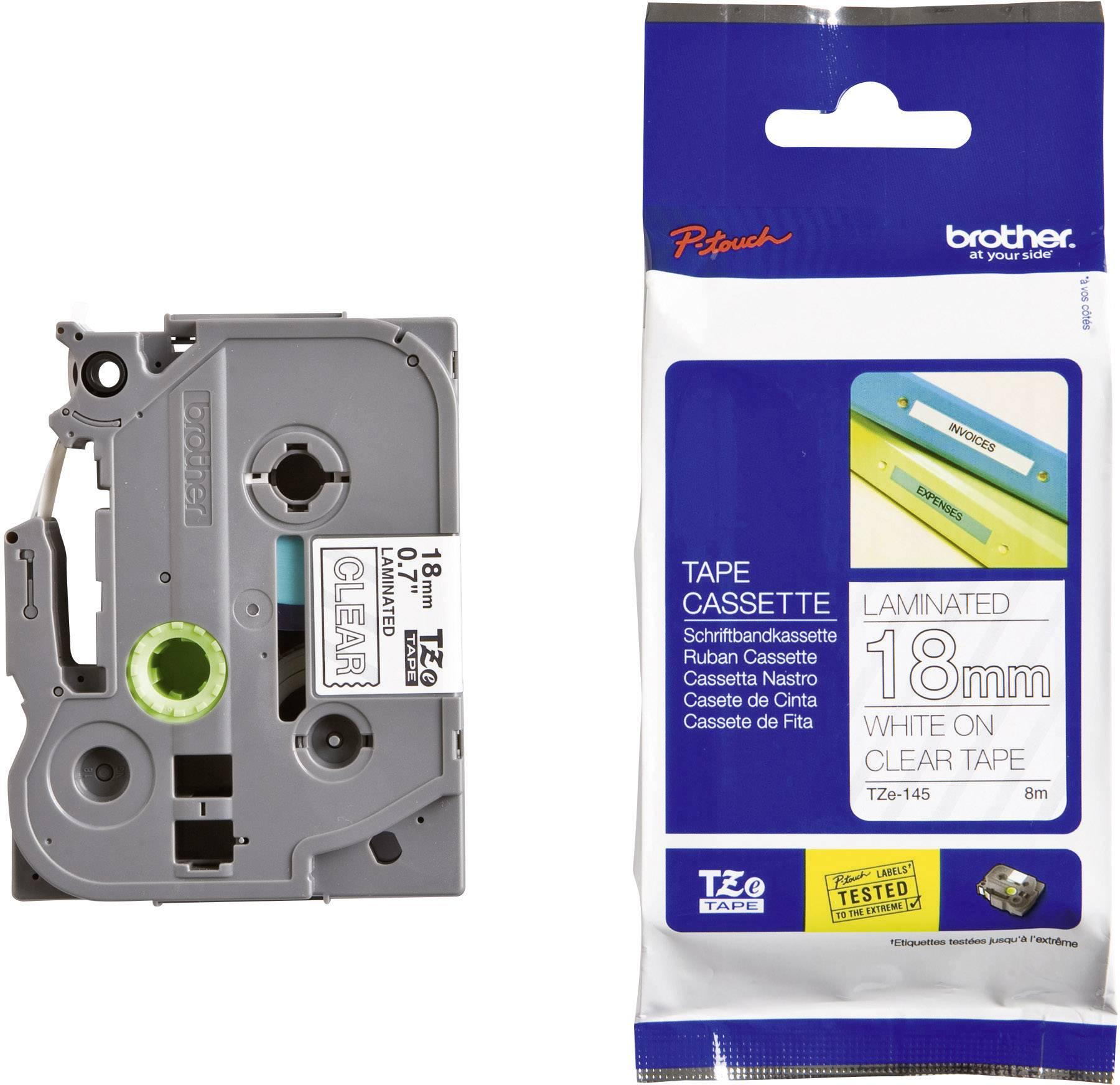 Páska do štítkovača Brother TZe-145, 18 mm, 8 m, biela, priehľadná