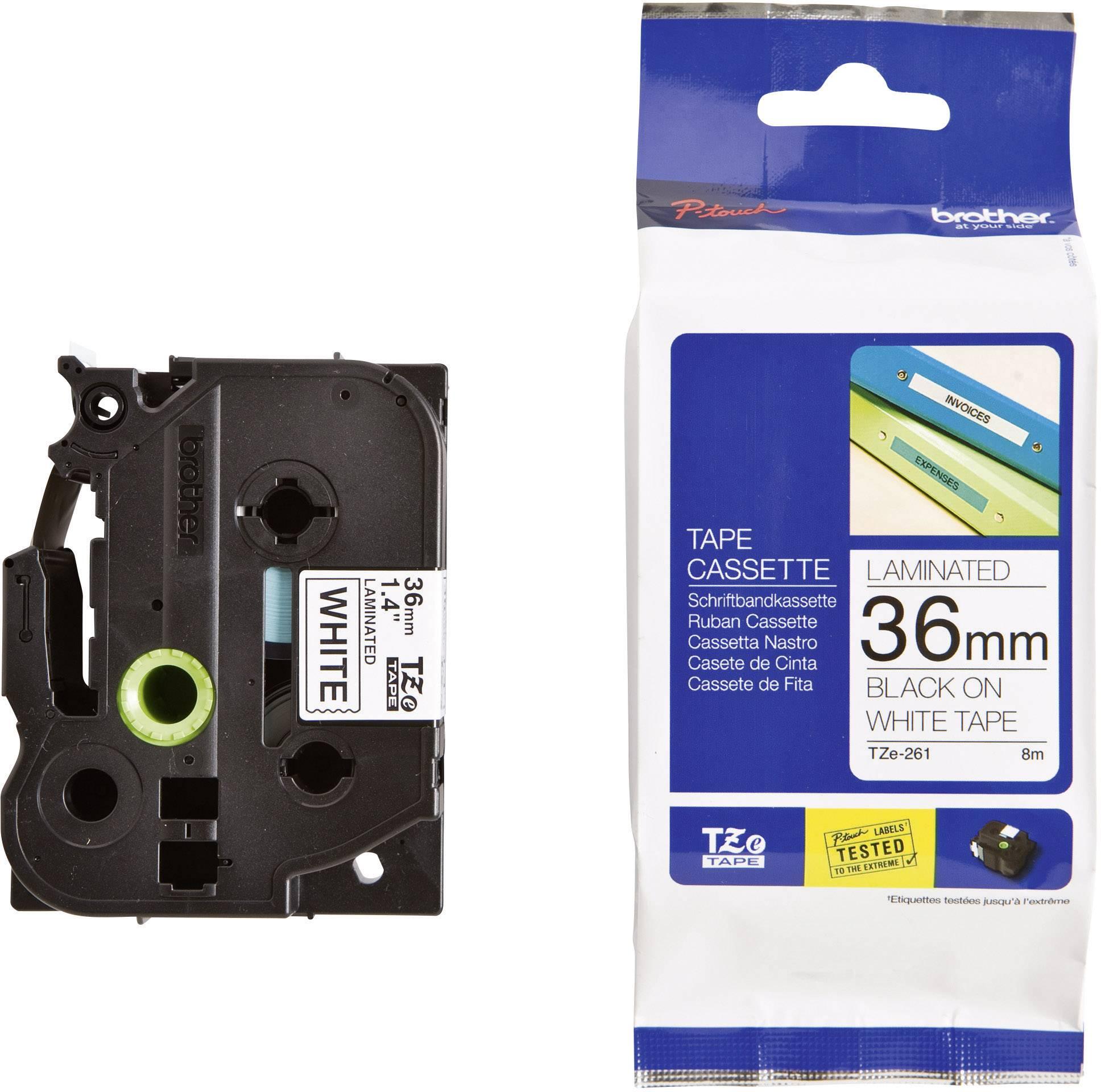 Páska do štítkovača Brother TZe-261, 36 mm, 8 m, čierna, biela