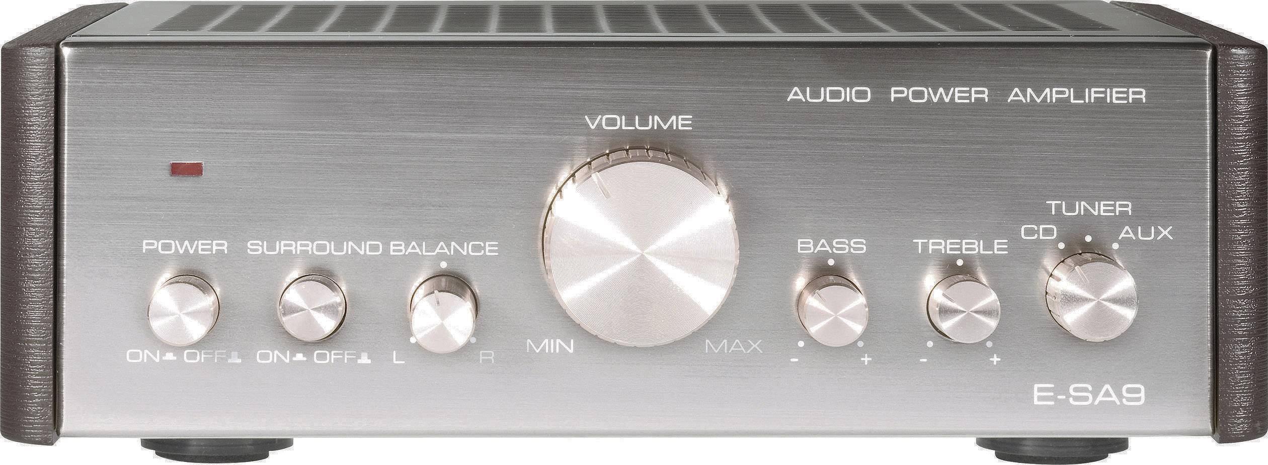Stereo zosilňovač Renkforce E-SA9, 2 x 12 W, strieborná (metalíza), tmavohnedá