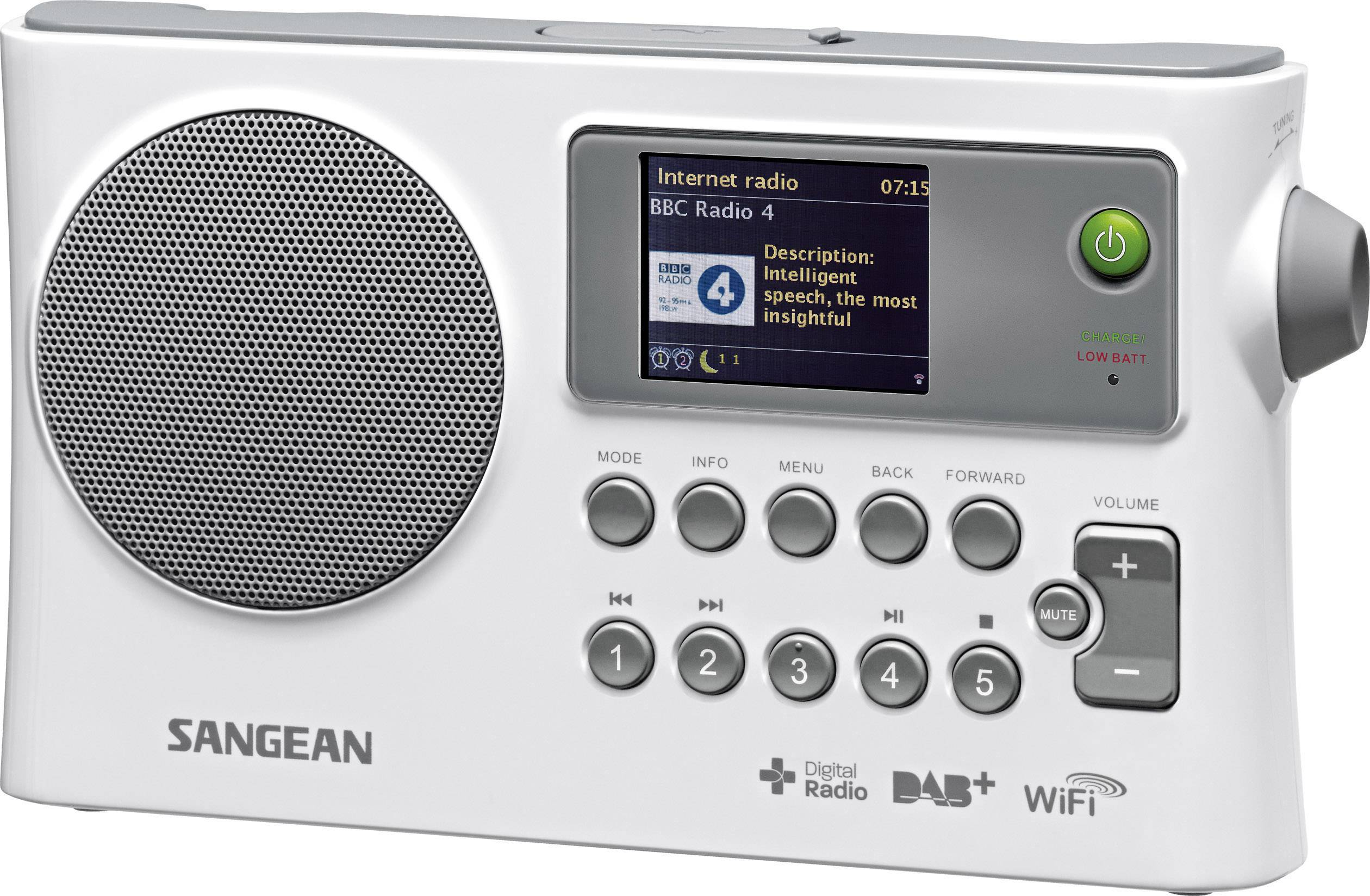 Internetové, DAB+, FM prenosné rádio Sangean WFR-28C, Wi-Fi, biela