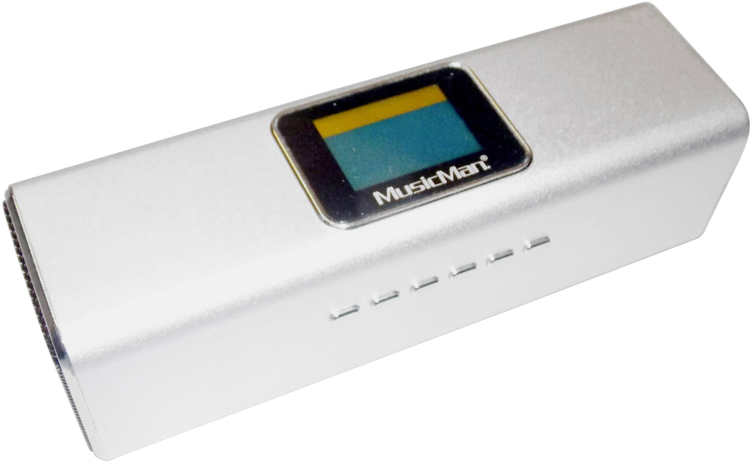 Mini reproduktor Technaxx MusicMan MA Display Soundstation AUX, FM rádio, SD, USB strieborná