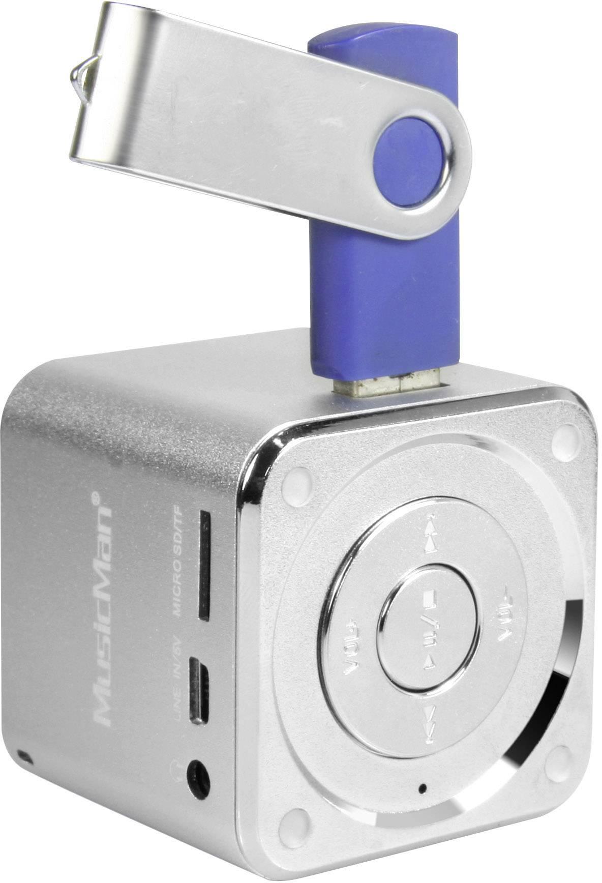Mini reproduktor Technaxx MusicMan Mini AUX, SD, USB strieborná