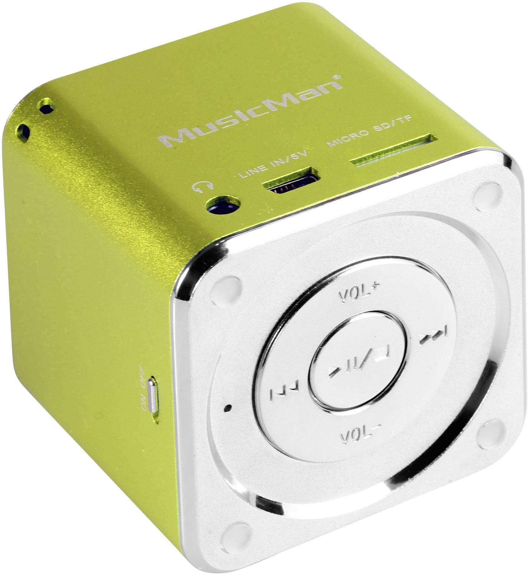 Mini reproduktor Technaxx MusicMan Mini AUX, SD, USB zelená