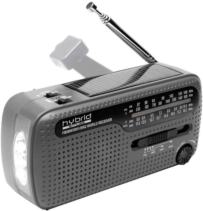 Solárne rádio s dynamom a svietidlom Muse MH-07 DS hybrid, USB