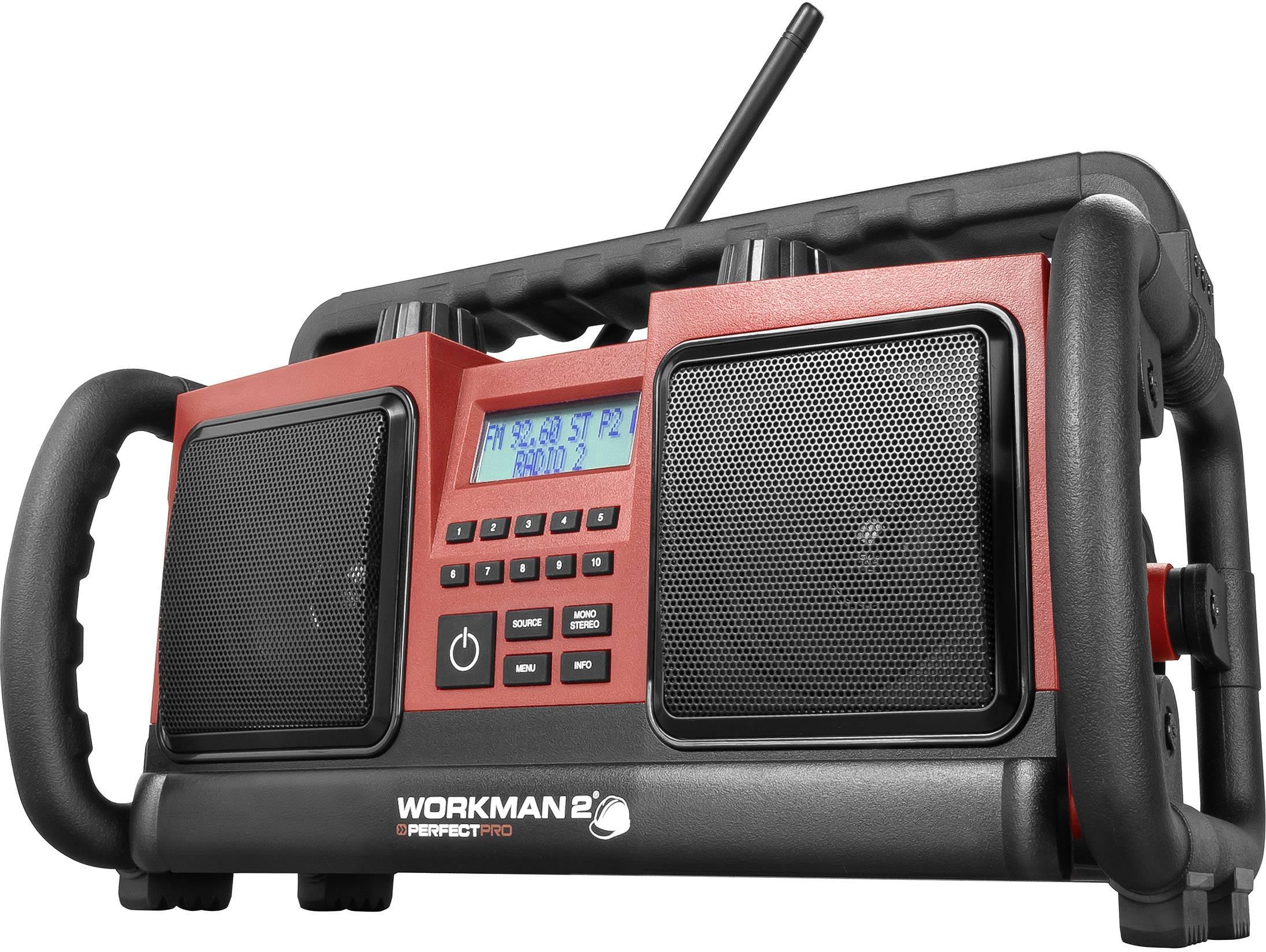 FM outdoorové rádio PerfectPro Workman 2, AUX, UKW, červená, čierna