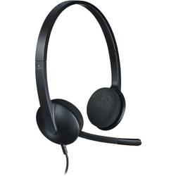 Headset k PC s USB na kabel, stereo Logitech H340 na uši černá