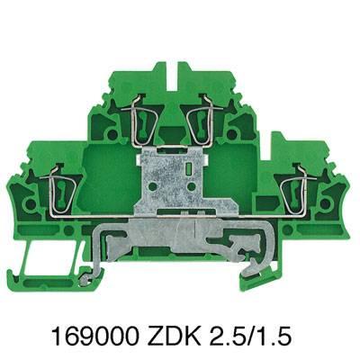 Svorka řadová s ochranným vodičem, dvojitý řadová svorka ZDK 2.5PE Weidmüller Množství: 50 ks