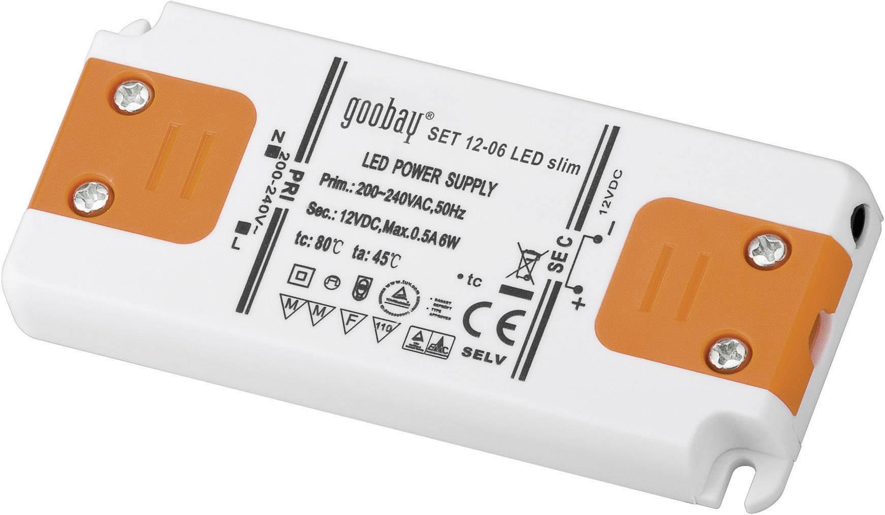 Napájací zdroj pre LED Goobay SET 12-06 LED slim, 6 W (max), 0.5 A, 12 V/DC