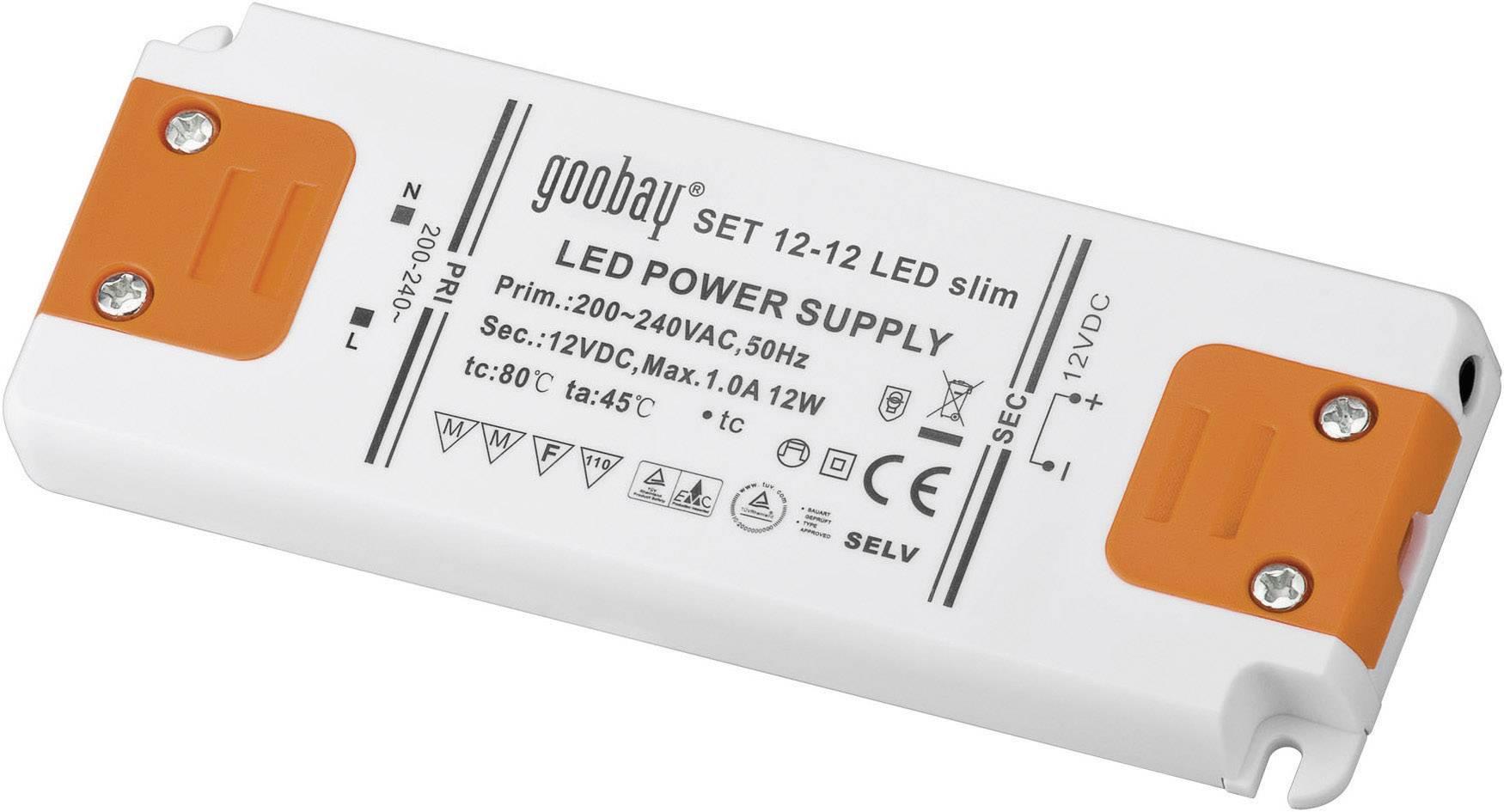 Napájací zdroj pre LED Goobay SET 12-12 LED slim, 12 W (max), 1 A, 12 V/DC