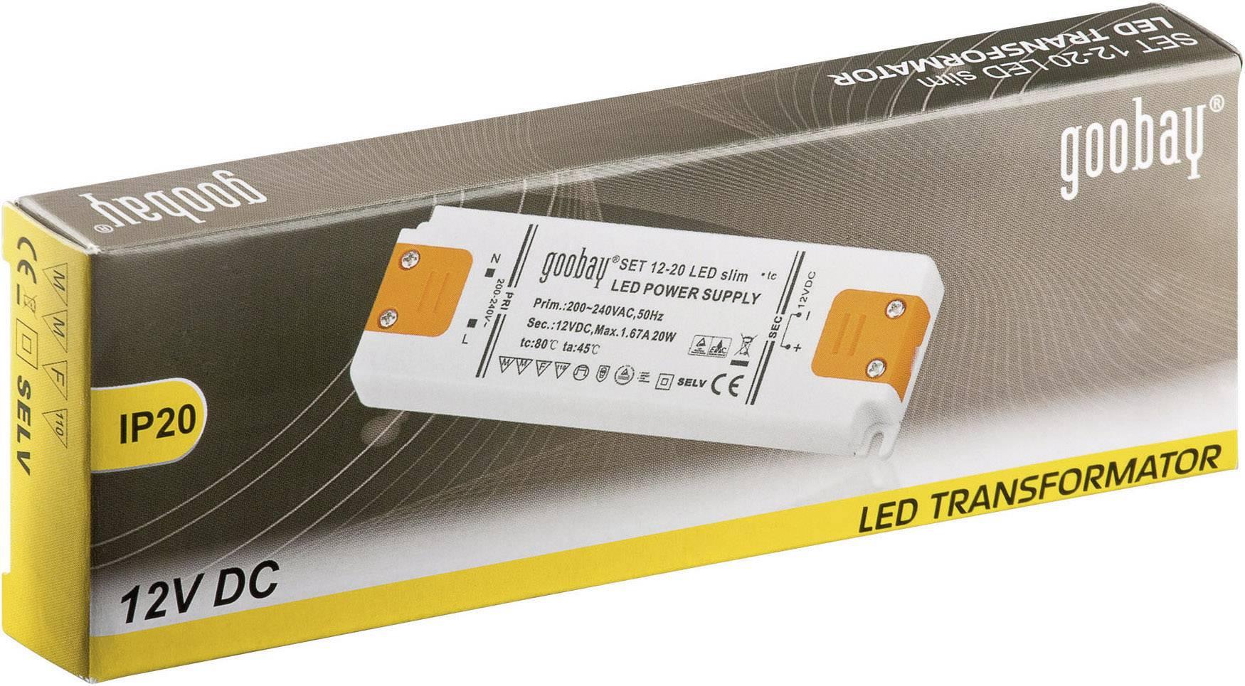 Napájací zdroj pre LED Goobay SET 12-20 LED slim, 20 W (max), 1.67 A, 12 V/DC