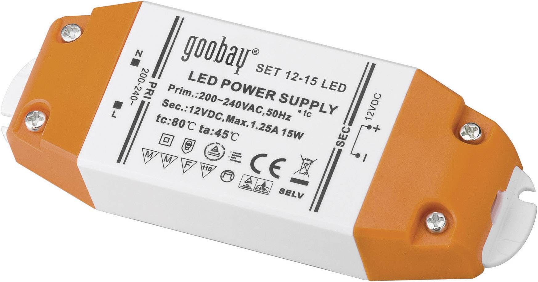 Napájací zdroj pre LED Goobay SET 12-15 LED, 15 W (max), 1.25 A, 12 V/DC