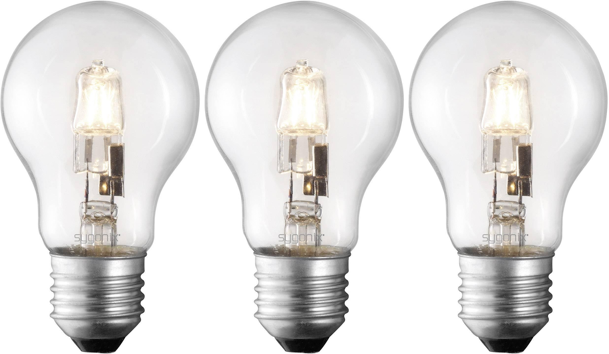ECO halogénová žiarovka Sygonix 230 V, E27, 42 W, en.trieda: C, teplá biela, 3 ks