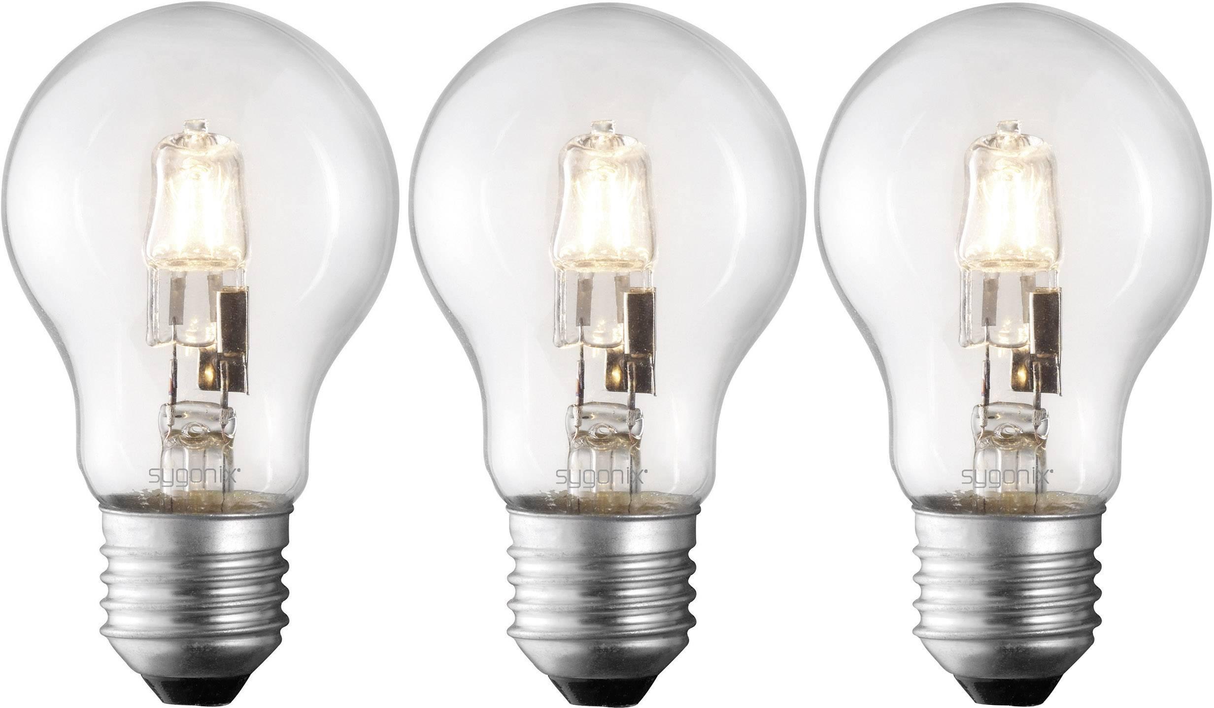 ECO halogénová žiarovka Sygonix 230 V, E27, 70 W, en.trieda: C, teplá biela, 3 ks