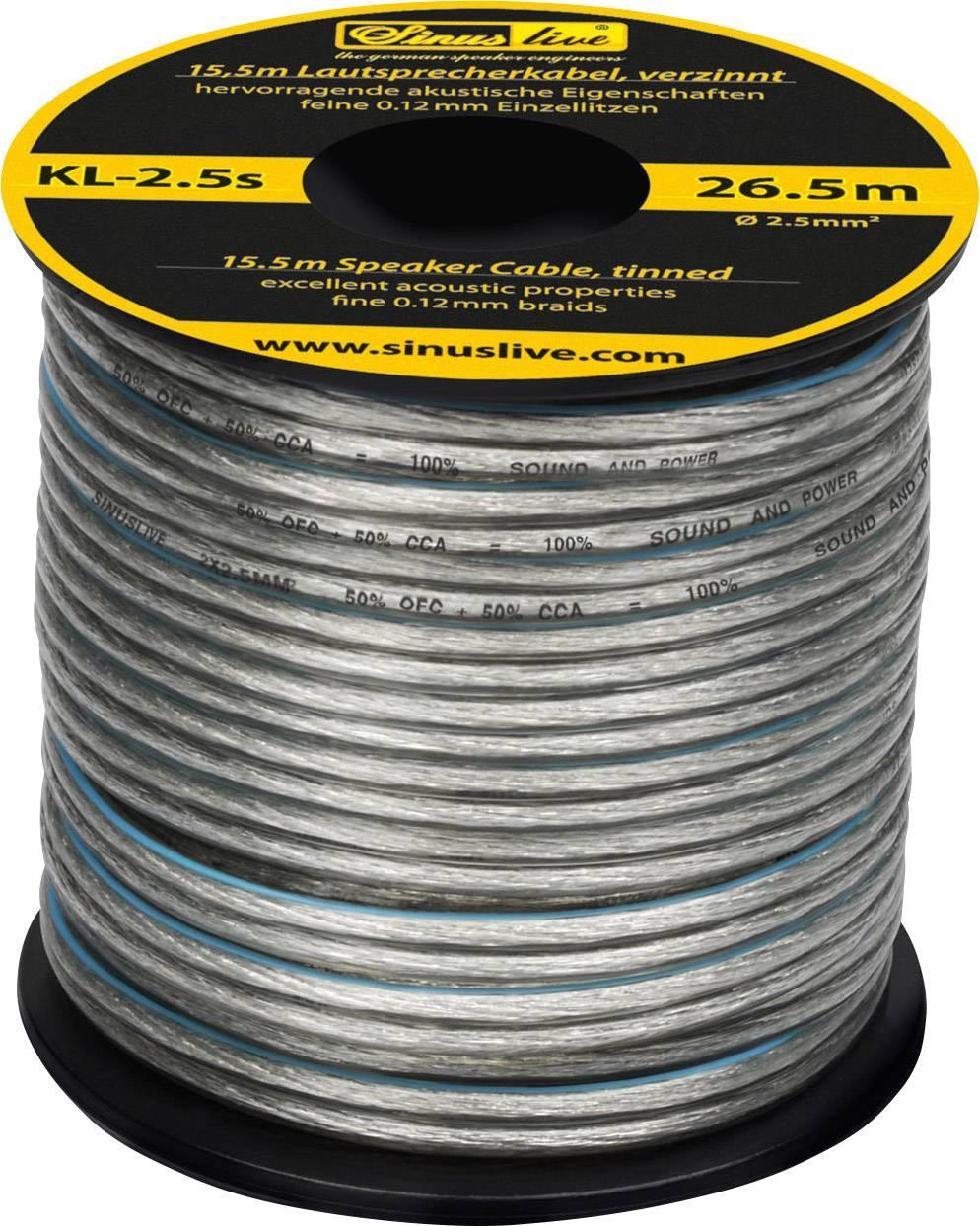 Reproduktorový kabel Sinuslive KL-2,5S, 1 x 2.50 mm², stříbrná, 15.5 m