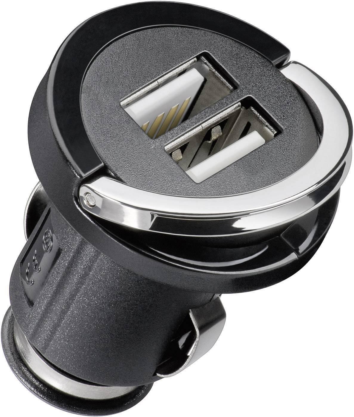 USB nabíjačka Cabstone Power USB Dual, čierna/strieborná