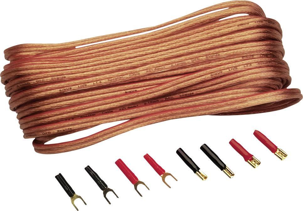 Sada kabelu a zástrček pro reproduktory Sinus Live, 2pólový, 1,5 mm²