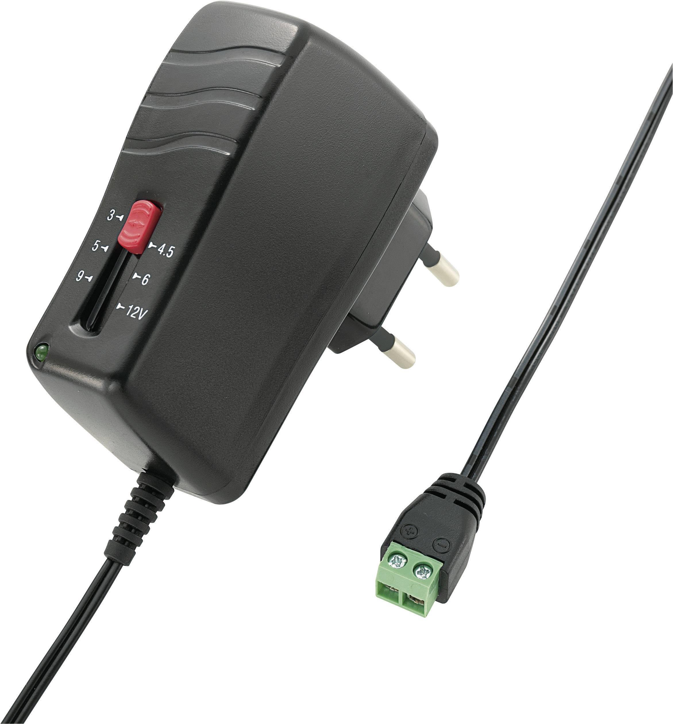Sieťový adaptér Voltcraft SNG-1000-OC, nastaviteľný 3 - 12 V/DC, 1000 mA