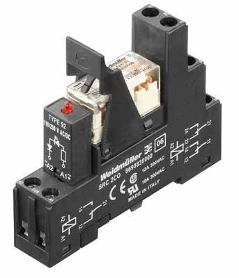 RIDERSERIES, Relays, No. of contacts: 2, CO contact, AgNi 90/10, Rated control voltage: 24 V AC, Continuous current: 8 A, Screw connection Weidmüller RCLKIT 24VAC 2CO LED RT, 24 V/AC, 8 A, 2 přepínací kontakty
