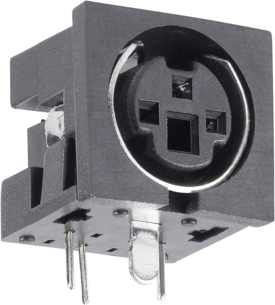 Mini DIN konektor BKL Electronic 0204047, zásuvka, vestavná horizontální, pólů 4, černá, poniklovaná, 1 ks