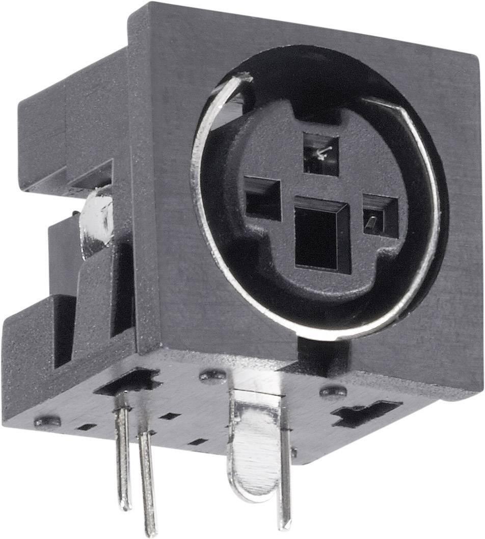 Mini DIN konektor BKL Electronic 0204047, zásuvka, vestavná horizontální, pólů 4, černá, poniklovaný, 1 ks