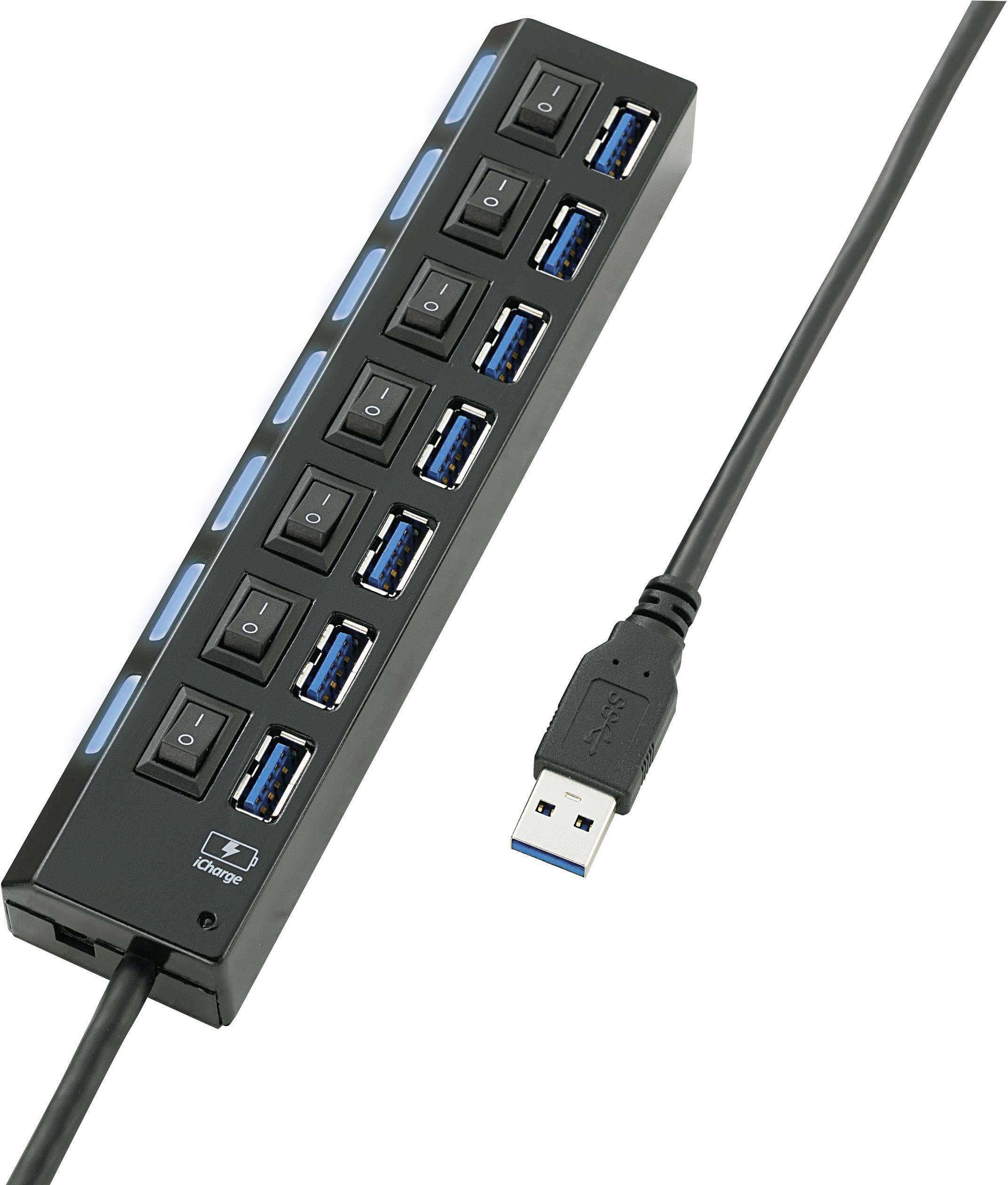 USB 3.0 hub 7 portov, možné spínať jednotlivo, so stavovými LED, s nabíjacím portom pre iPad, 166 mm, čierna
