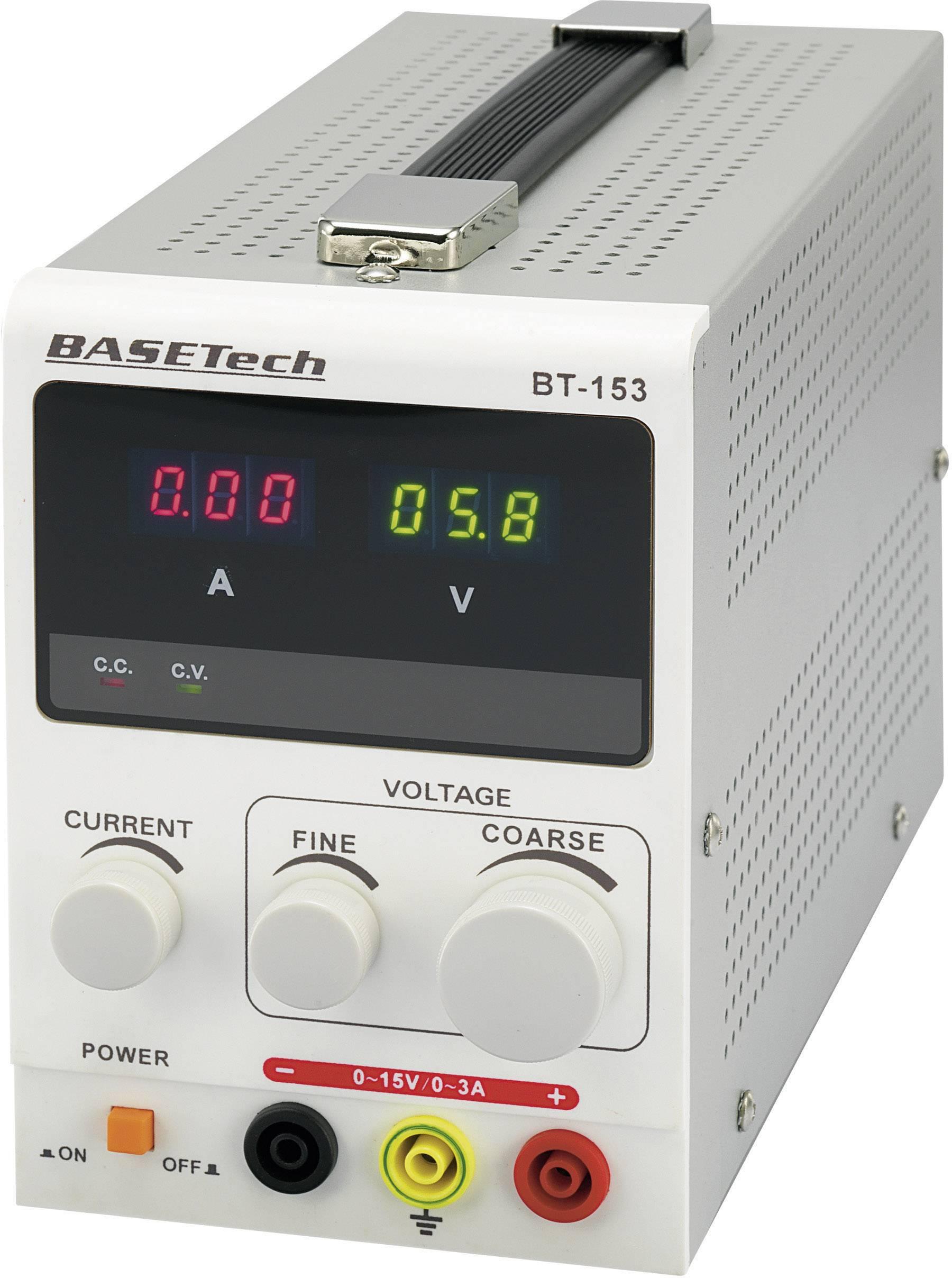 Laboratorní zdroj s nastavitelným napětím Basetech BT-153, 0 - 15 V/DC, 0 - 3 A, 45 W, kalibrace dle ISO