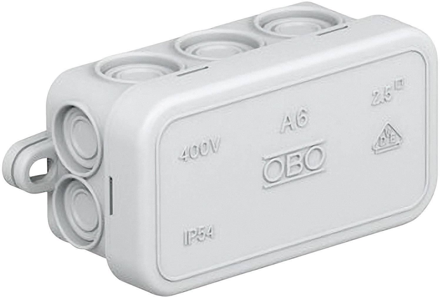 Rozbočovacia krabica OBO Bettermann A6, 80 x 43 x 34 mm, svetlo sivá, 2000001