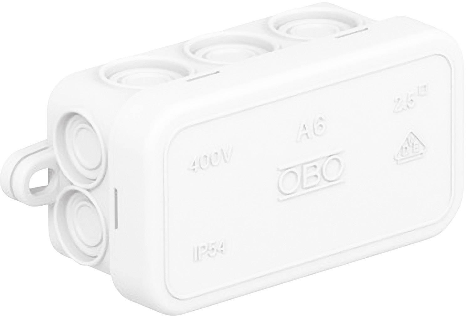 Rozbočovacia krabica OBO Bettermann A6, 80 x 43 x 34 mm, jasne biela, 2000005