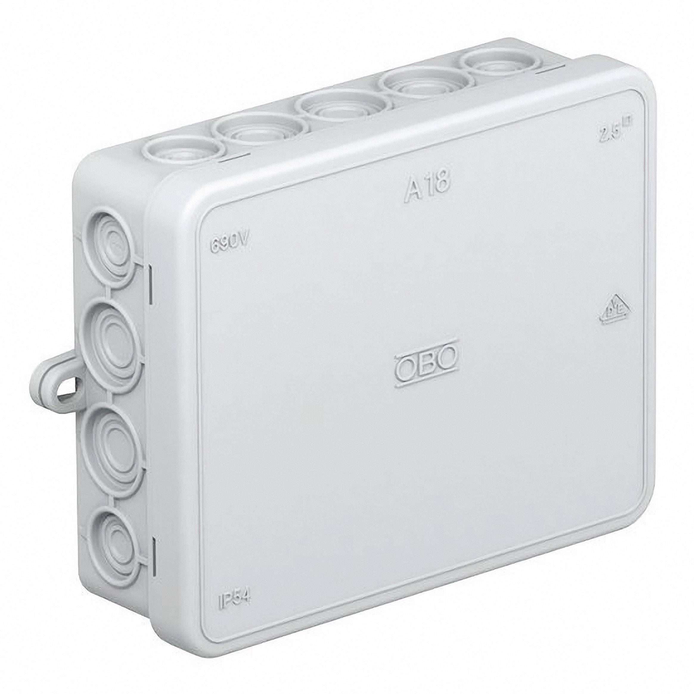Rozbočovacia krabica OBO Bettermann A18, IP55, 125 x 100 x 40 mm, svetlo sivá, 2000410
