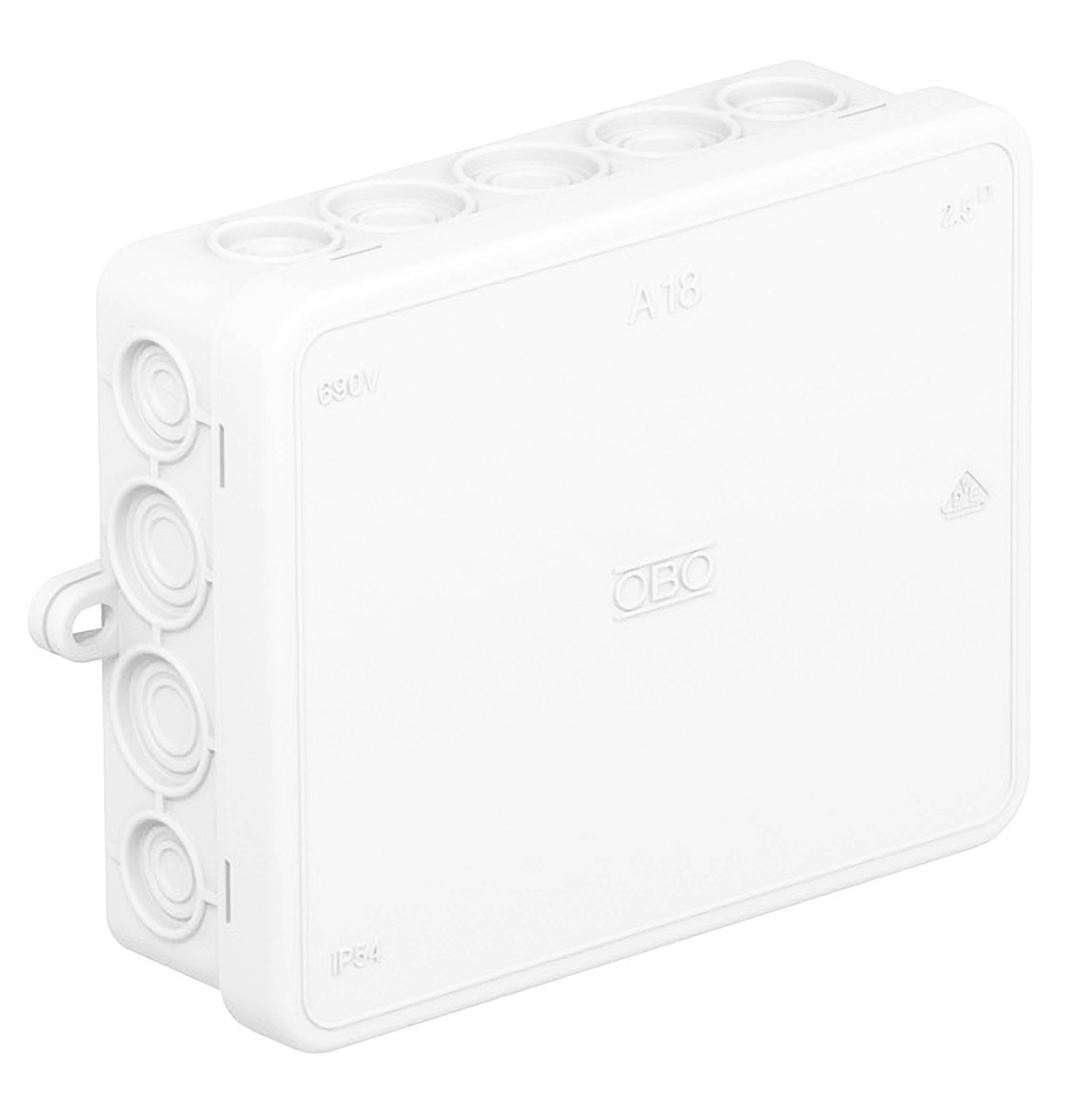 Rozbočovacia krabica OBO Bettermann A18, IP55, 125 x 100 x 40 mm, jasne biela, 2000422