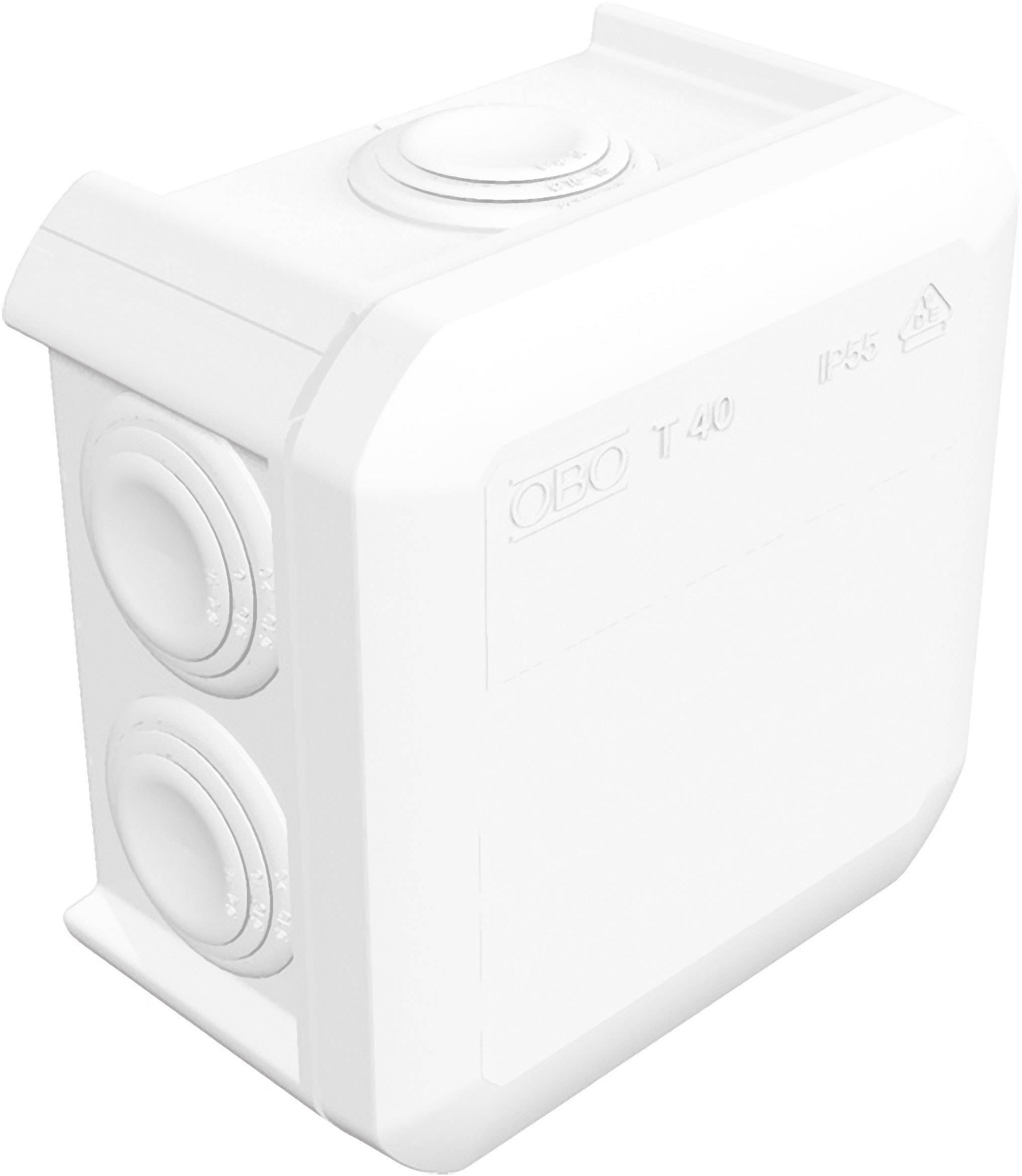Rozbočovacia krabica OBO Betternann T40, IP55, 90 x 90 x 52 mm, jasne biela, 2007517