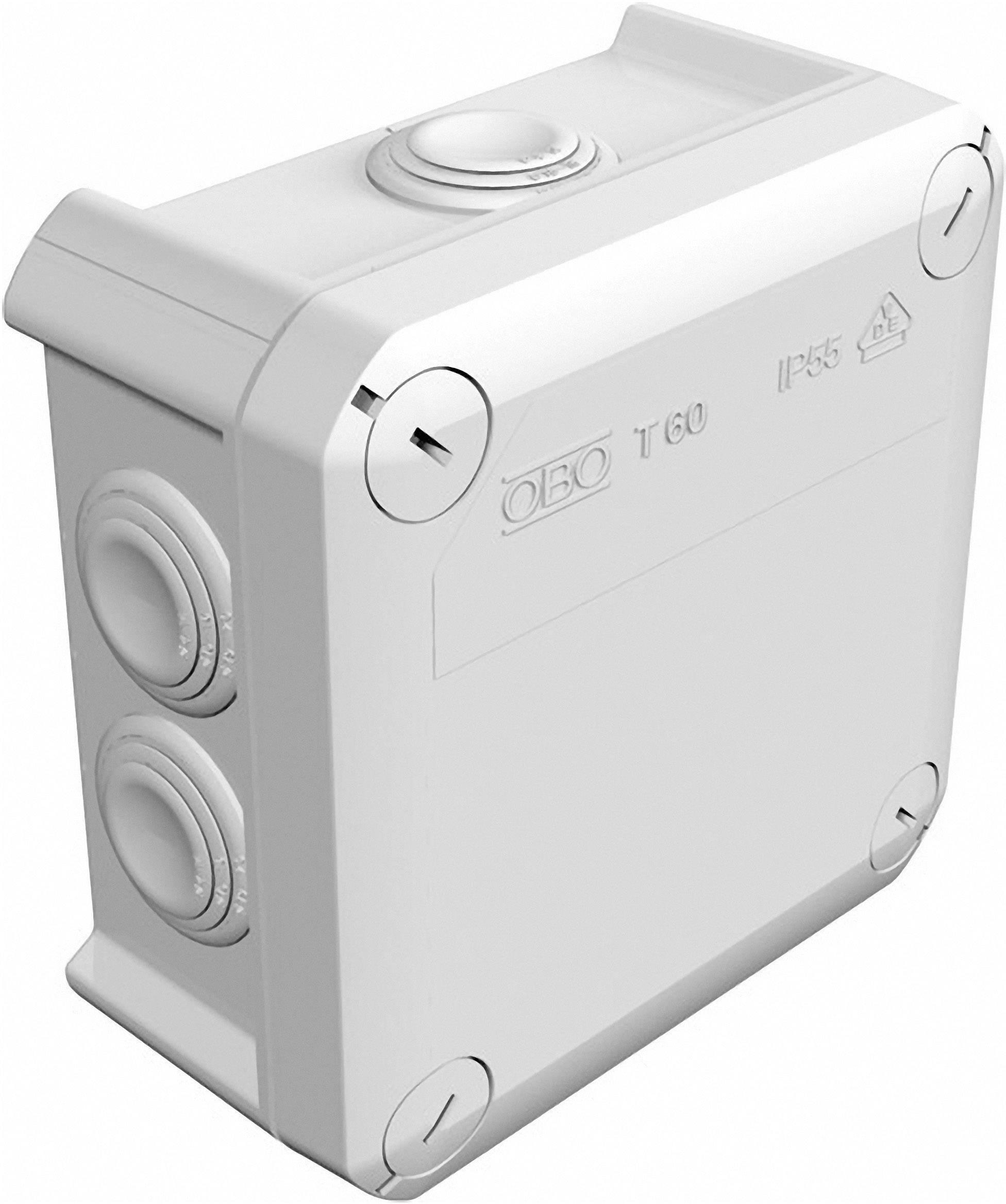 Rozbočovacia krabica OBO Betternann T60, IP55, 114 x 114 x 57 mm, svetlo sivá, 2007061