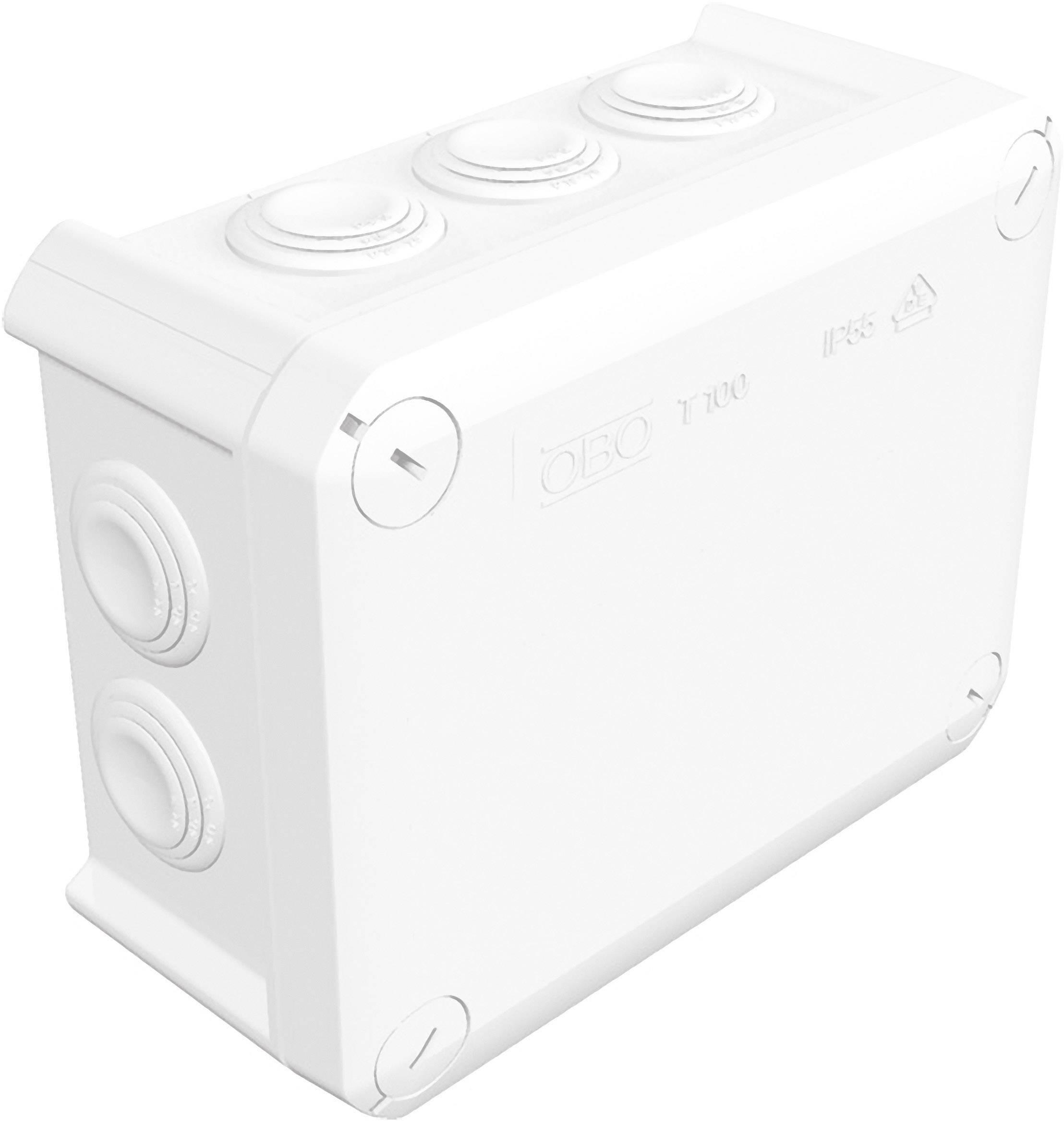 Rozbočovacia krabica OBO Bettermann T100, IP66, 150 x 116 x 67 mm, jasne biela, 2007533