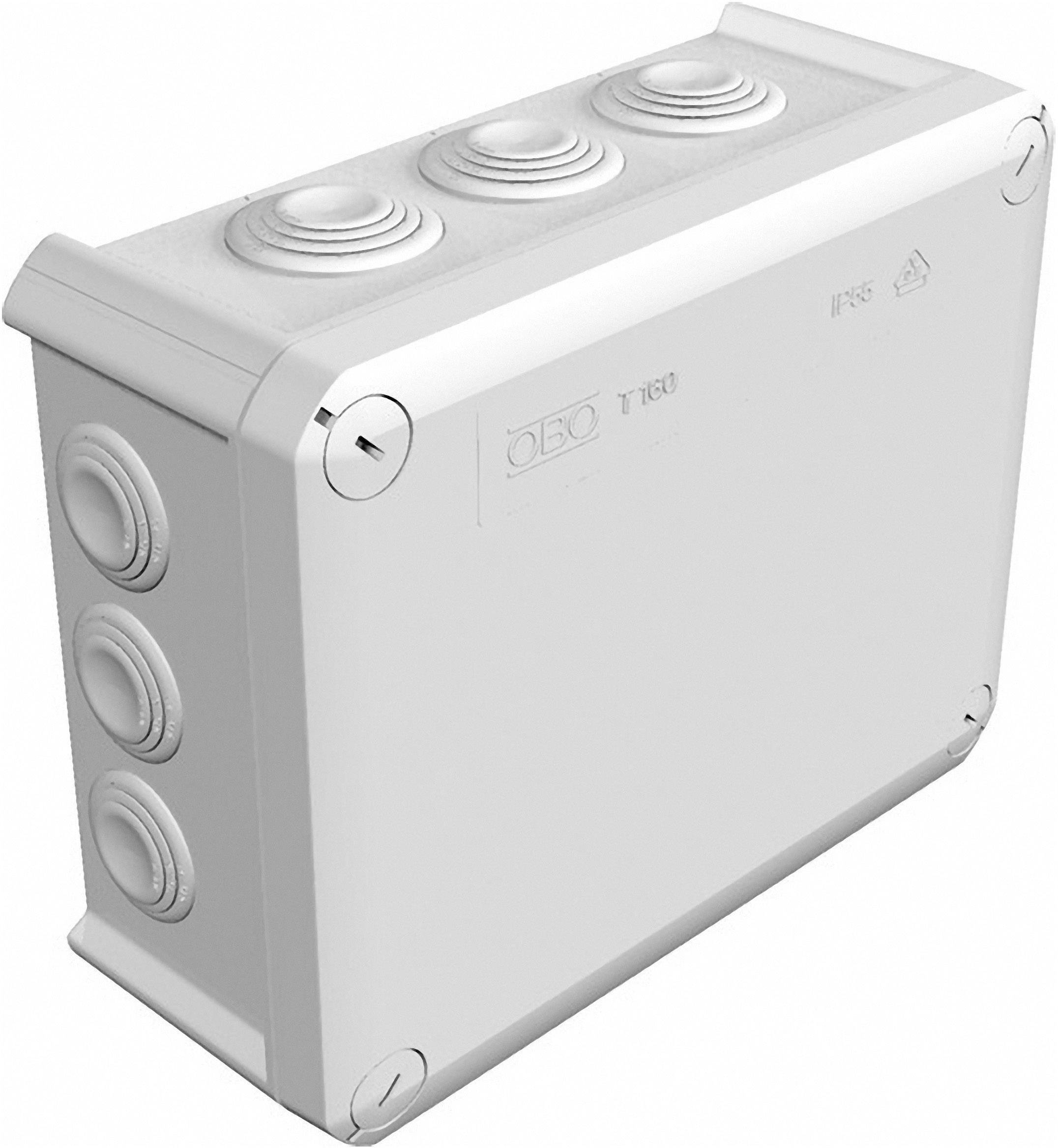 Rozbočovacia krabica OBO Bettermann T160, IP66, 190x 150x 77 mm, svetlo sivá, 2007093