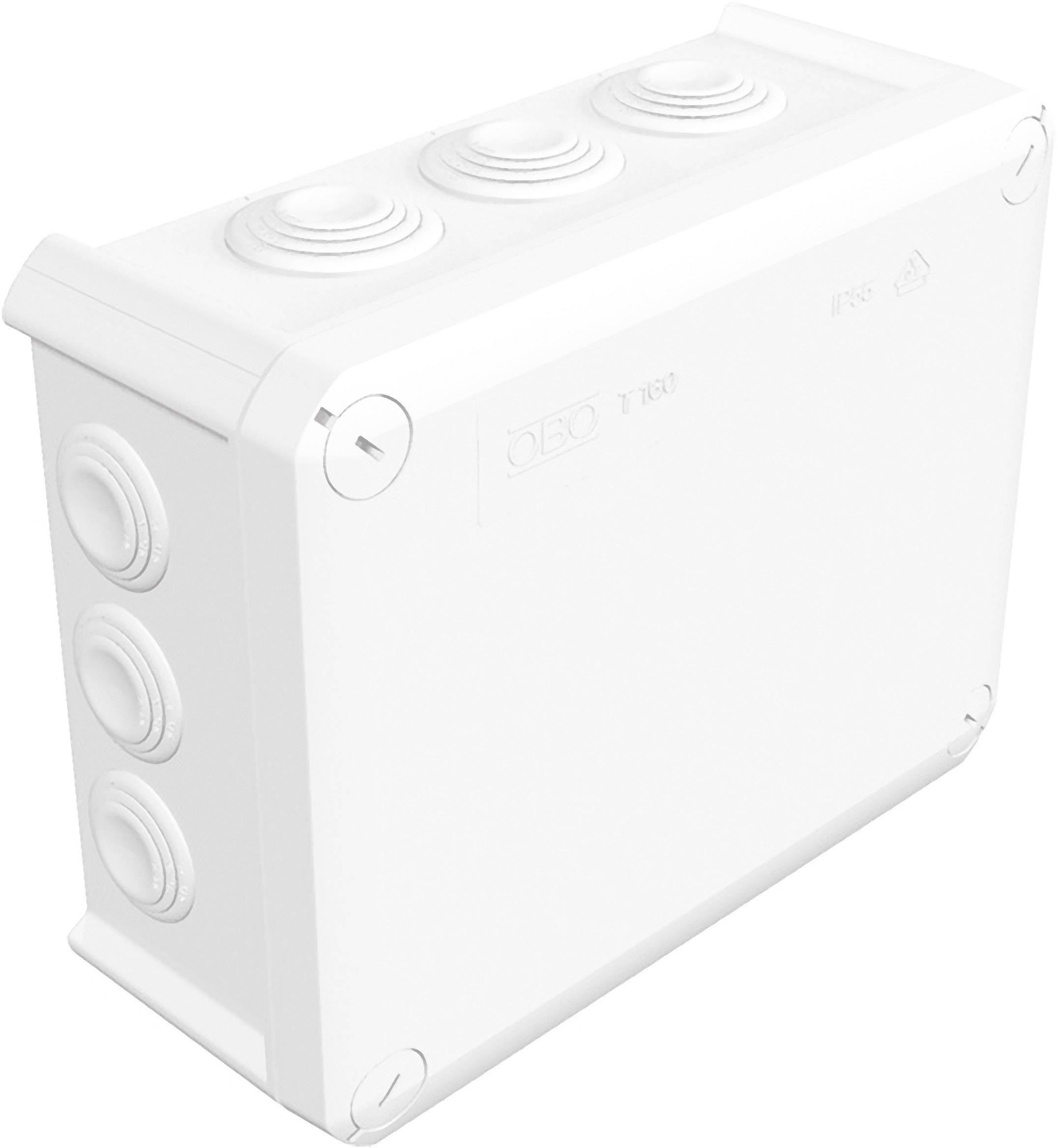 Rozbočovacia krabica OBO Bettermann T160, IP66, 190x 150x 77 mm, jasne biela, 2007041