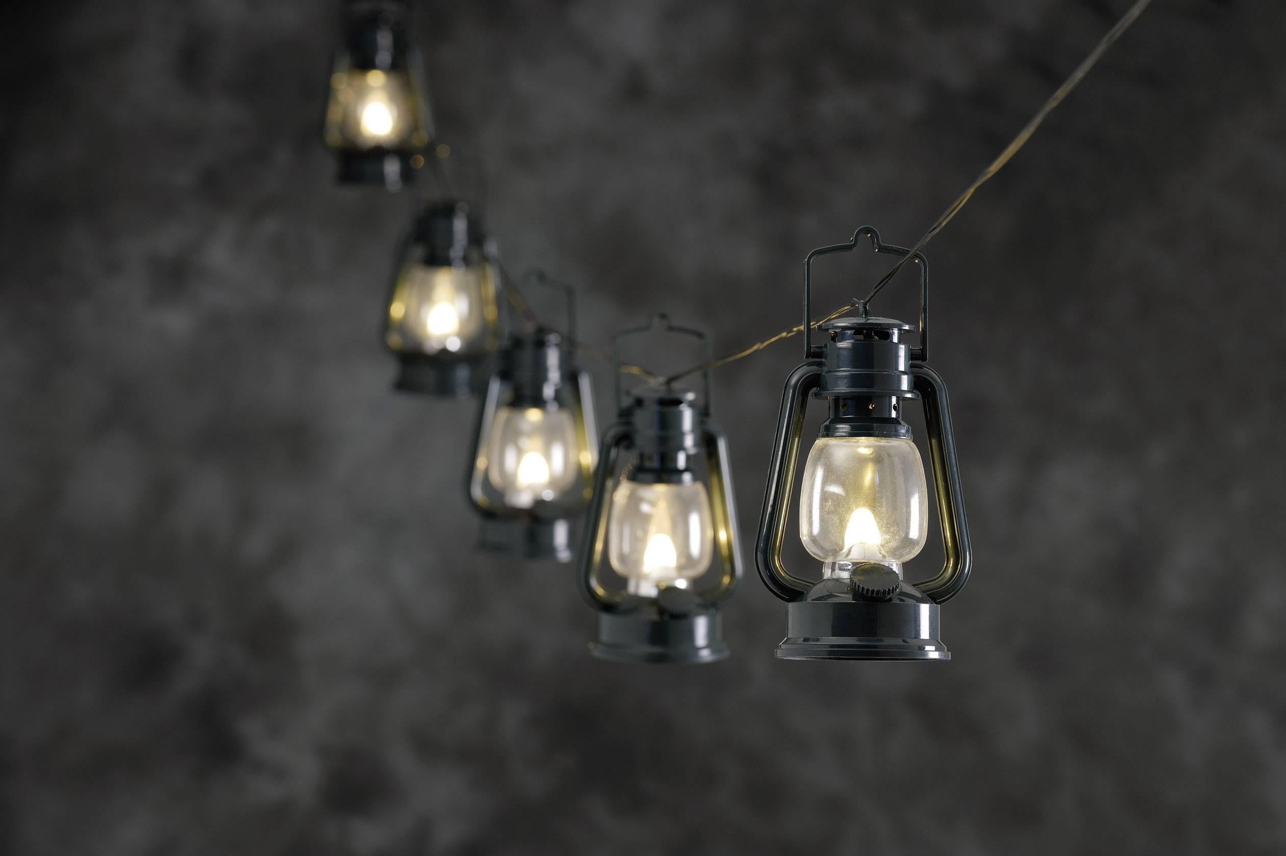 Vonkajšia svietiaca reťaz so zelenými lampášmi Konstsmide 4128-900 8 LED, 17 m, teplá biela