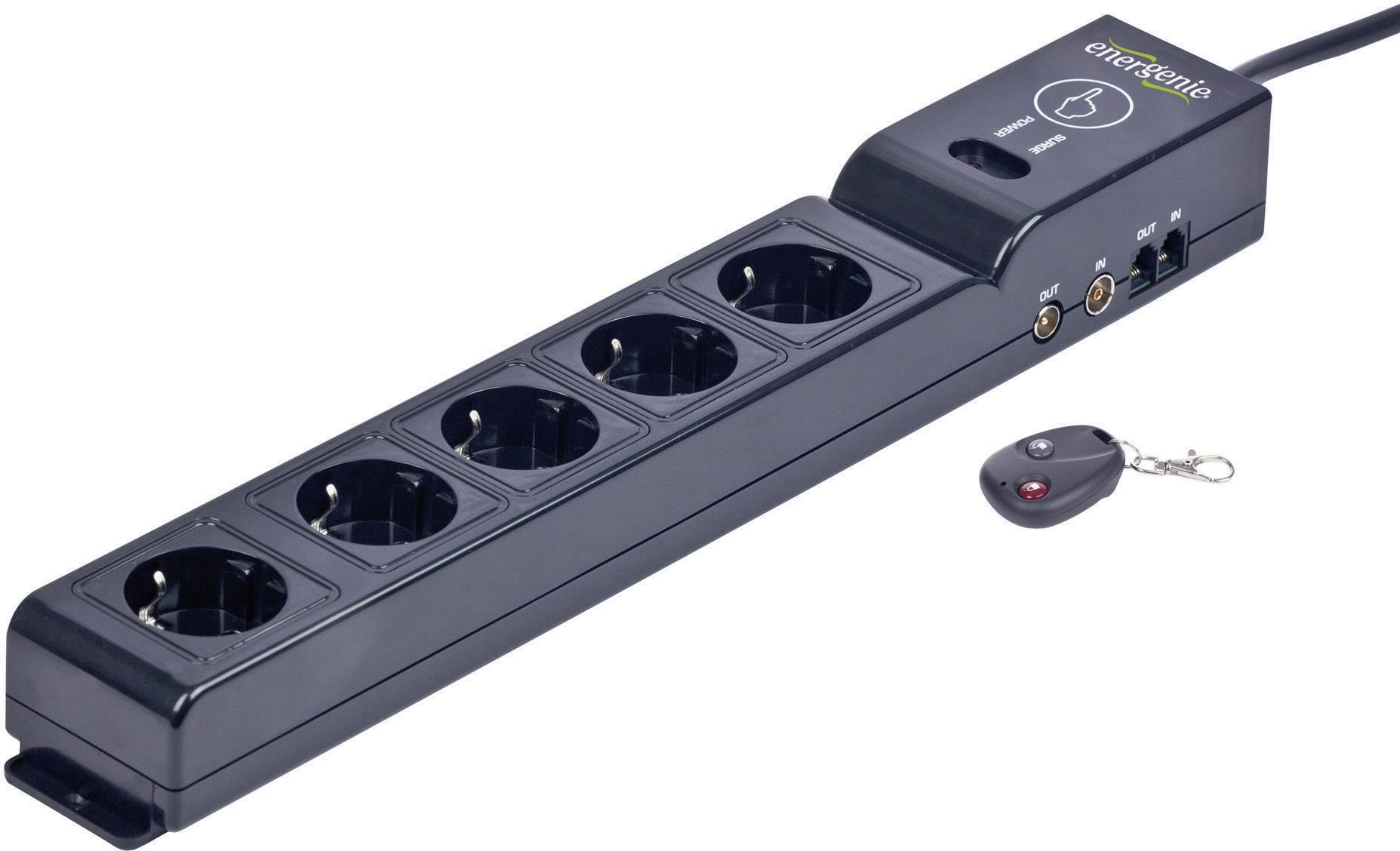 Zásuvková lišta s prepäťovou ochranou a diaľkovým ovládaním Gembird, 5 zásuviek, čierna
