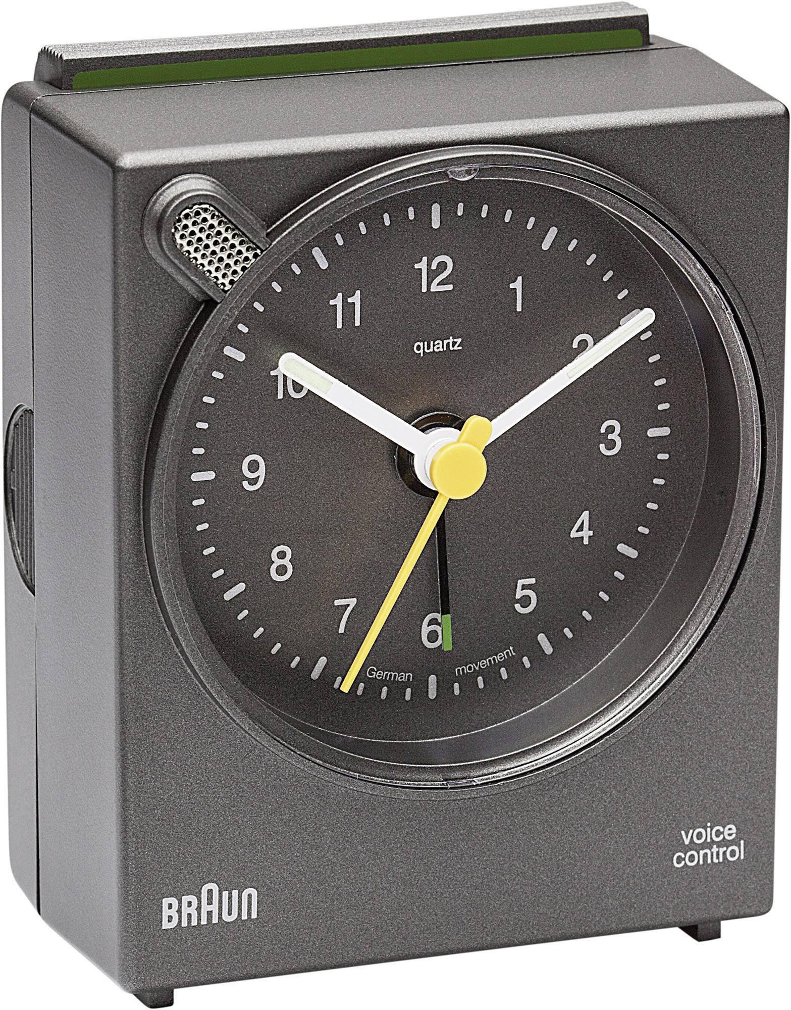Analogový budík Braun Voice Control, 80 x 63 x 38 mm, hnědá