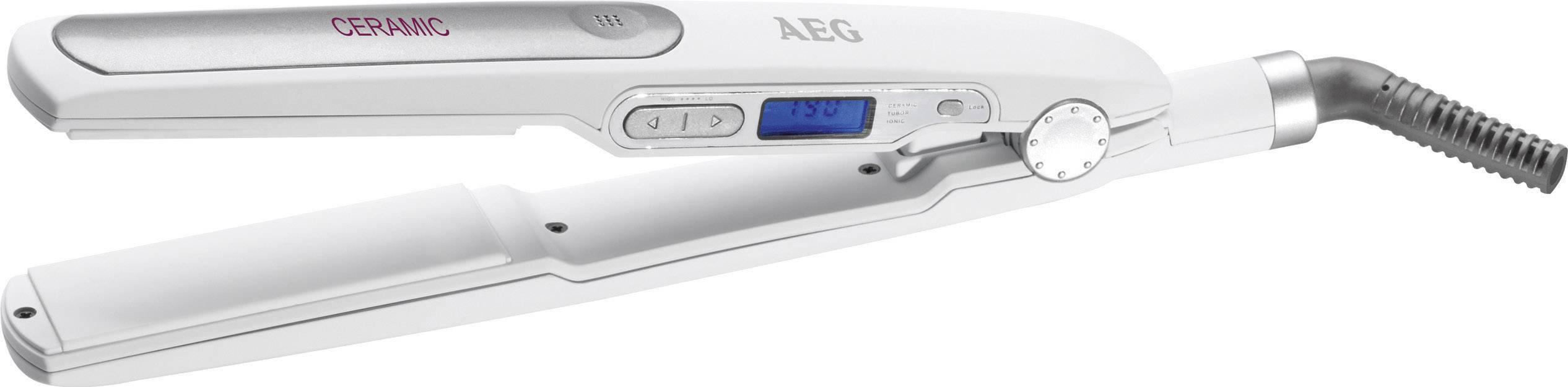 Žehlička na vlasy AEG HC 5585 s keramickým tělískem a LCD, bílá
