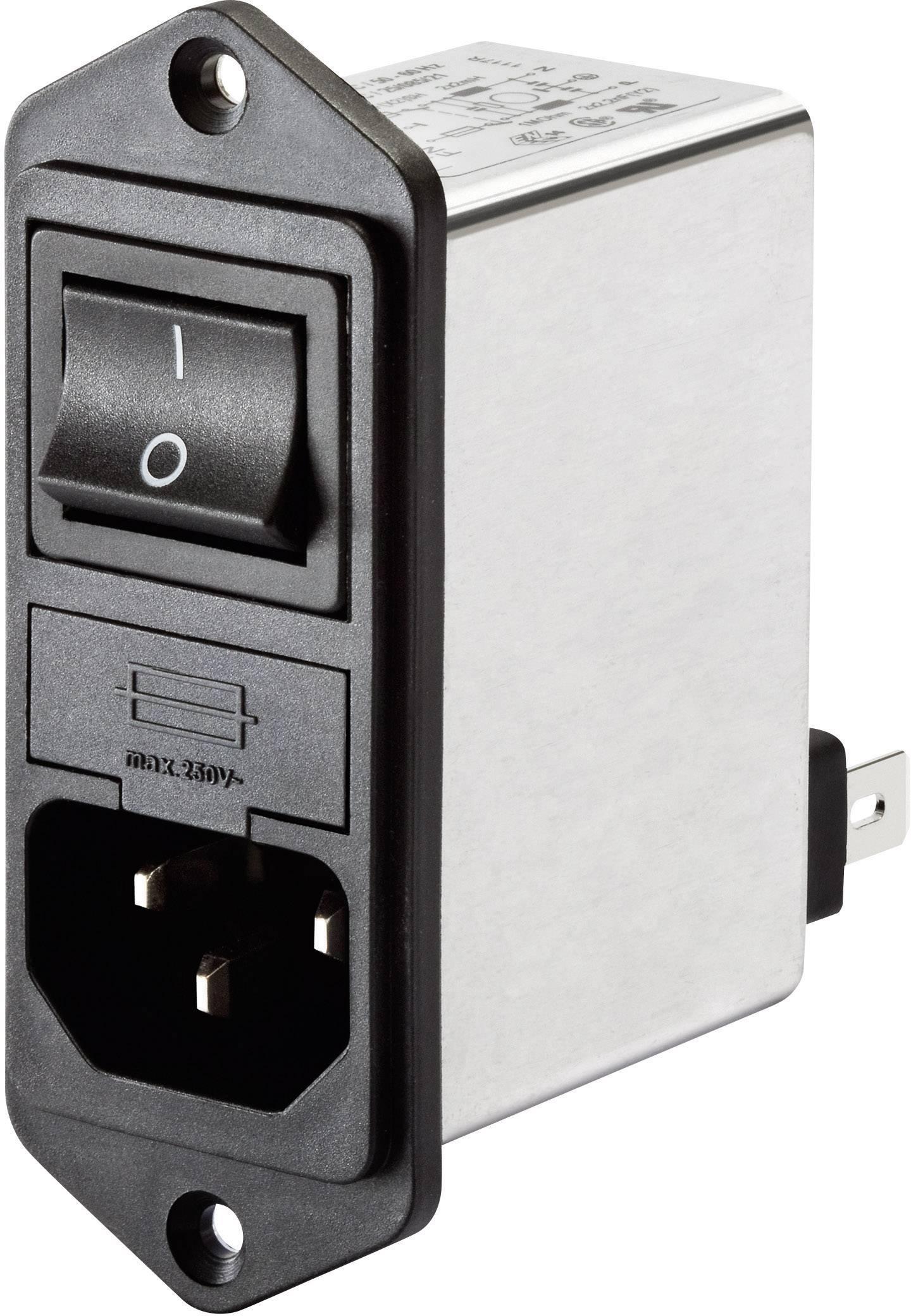 Sieťový filter Schaffner FN 281-1-06 FN 281-1-06, so spínačom, s IEC zásuvkou, 250 V/AC, 1 A, 7.5 mH, 1 ks
