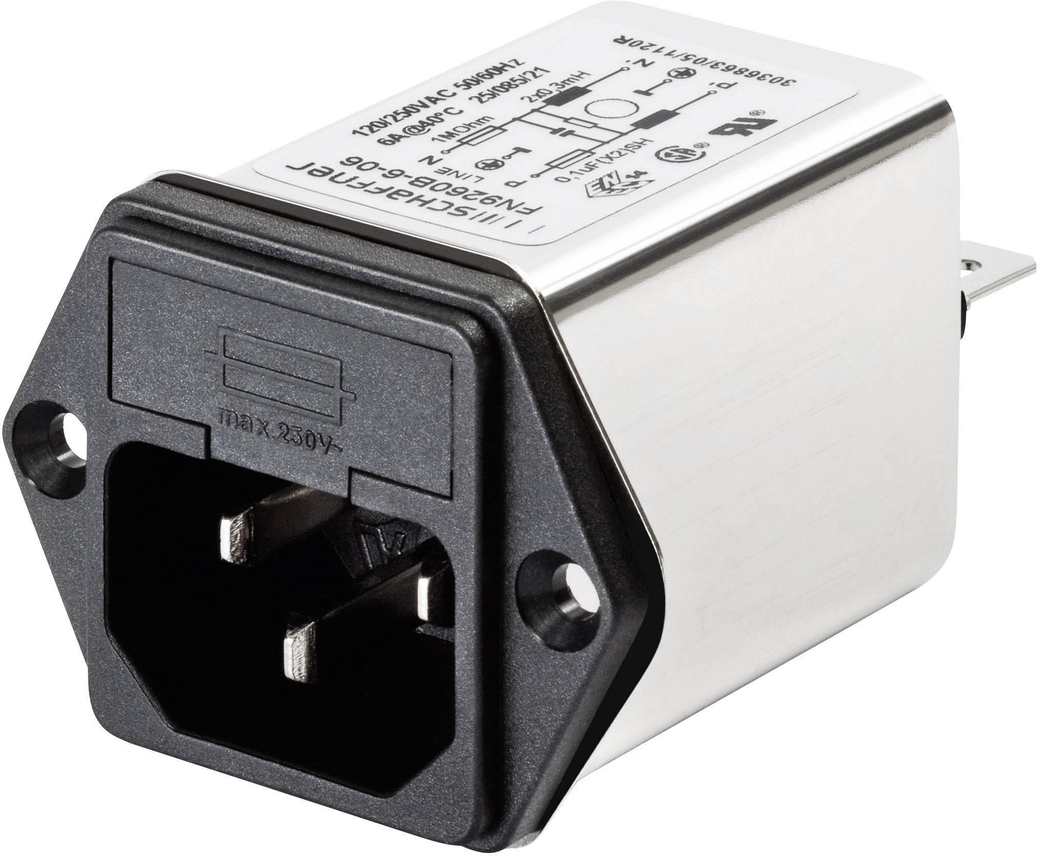 Sieťový filter Schaffner FN 9260-1-06 FN 9260-1-06, so spínačom, s IEC zásuvkou, 250 V/AC, 1 A, 5.3 mH, (š x v) 46 mm x 32 mm, 1 ks