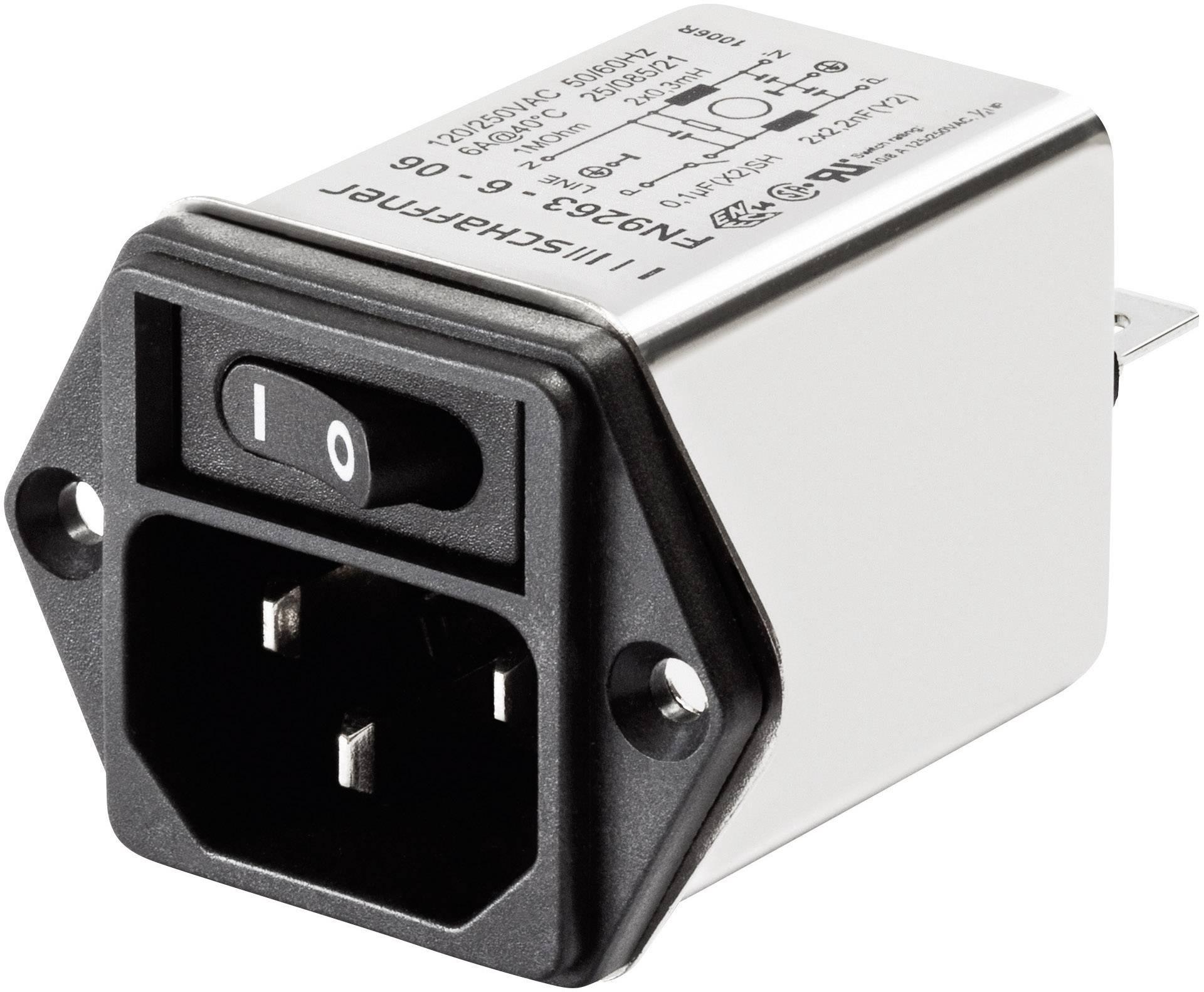 Sieťový filter Schaffner FN 9263-3-06 FN 9263-3-06, s IEC zásuvkou, 250 V/AC, 3 A, 2 mH, (š x v) 46 mm x 32.2 mm, 1 ks
