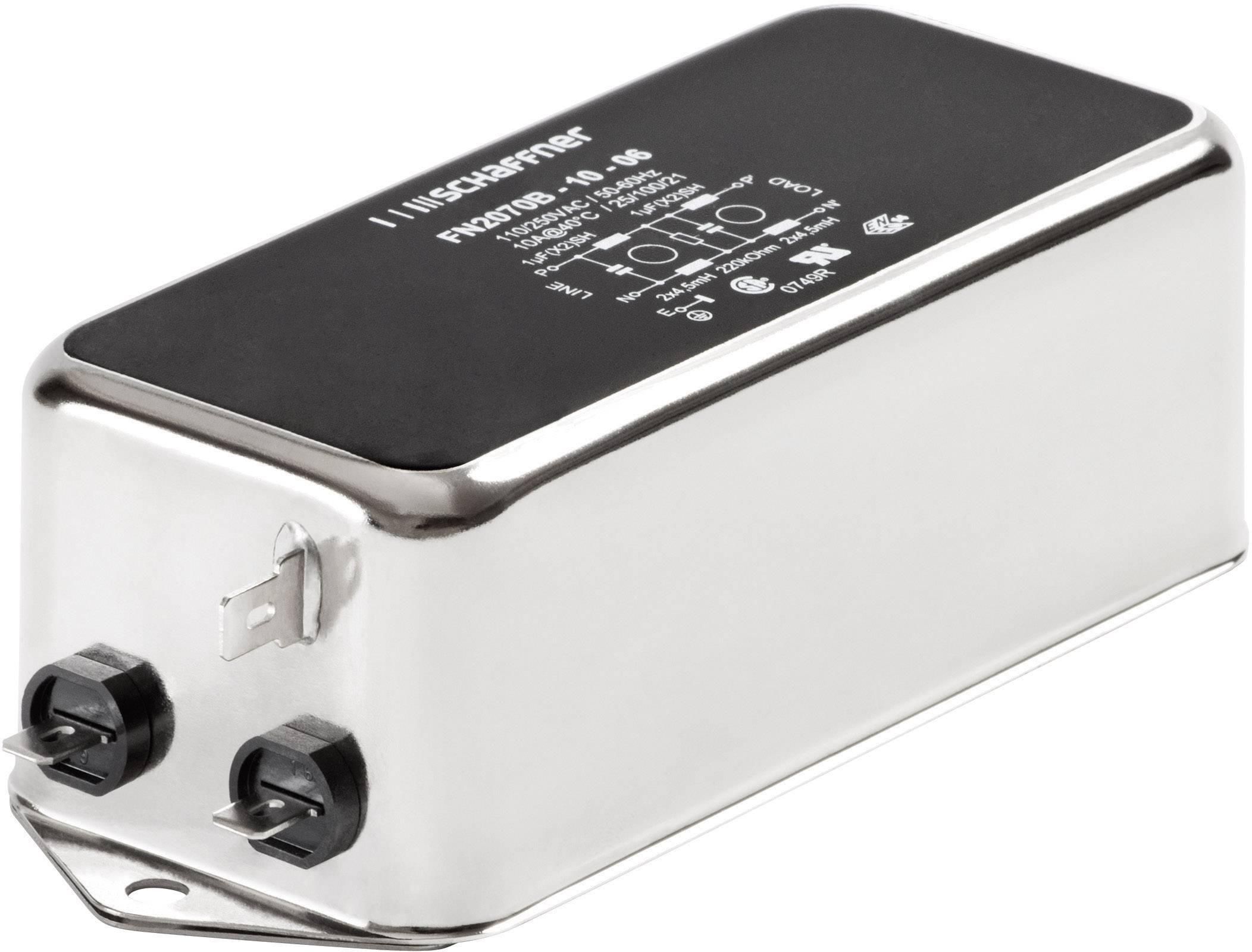 Sieťový filter Schaffner FN 2070-6-06 FN 2070-6-06, s IEC zásuvkou, 250 V/AC, 6 A, 7.8 mH, (š x v) 113.5 mm x 45.4 mm, 1 ks