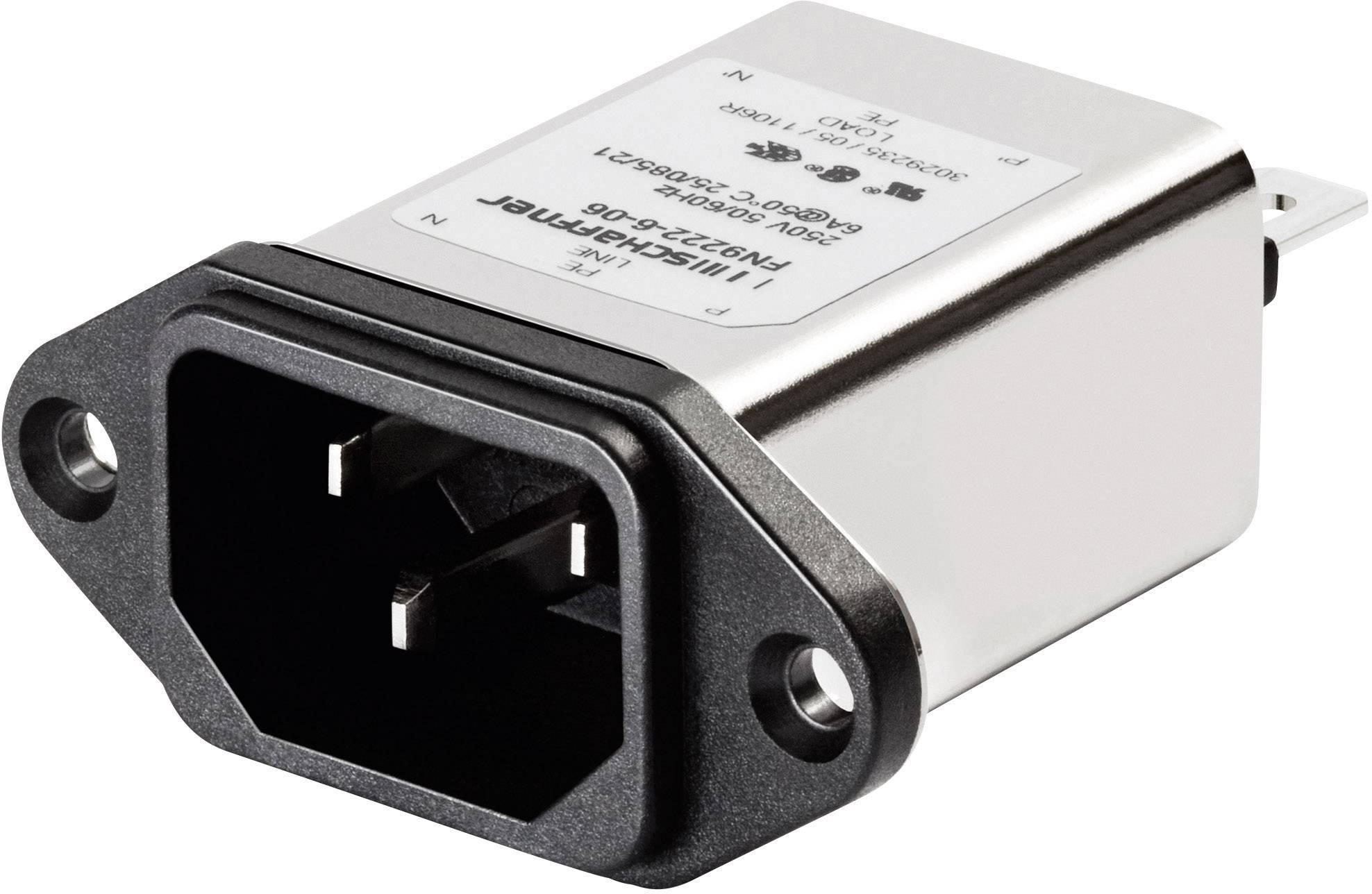 Sieťový filter Schaffner FN 9222-6-06 FN 9222-6-06, s IEC zásuvkou, 250 V/AC, 6 A, 0.78 mH, (š x v) 48 mm x 22.5 mm, 1 ks