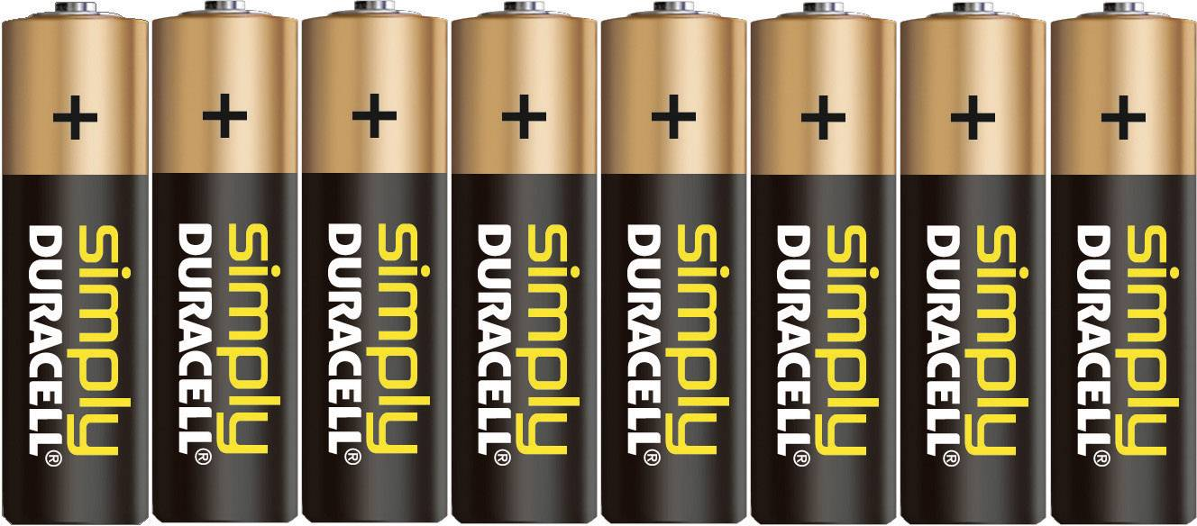 Tužková batéria typu AA alkalicko/mangánová Duracell Simply LR06, 1.5 V, 8 ks